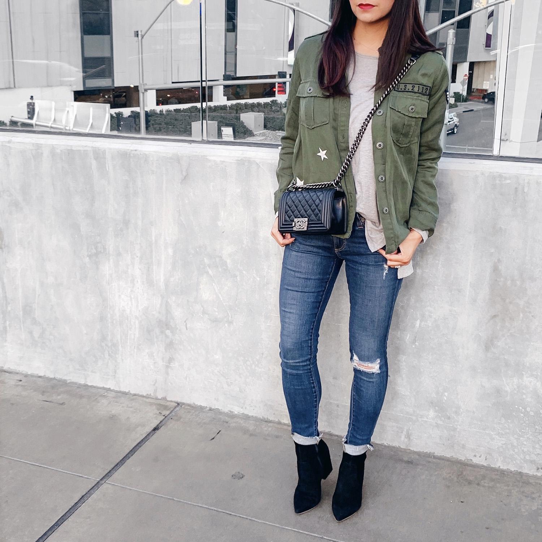 Rails Military Shirt       Grey T-Shirt     AG Jeans {   similar   }     Loeffer Randal Isla Boots     Chanel Boy Bag