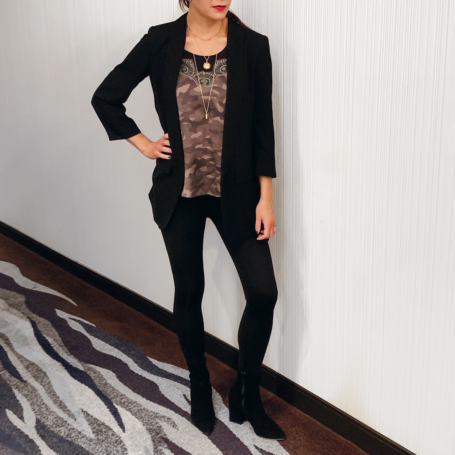 Nordstrom Blazer       Cami NYC Camisole       Spanx Arm Tights       Alexo Athletica Stealth Leggings   *      Loeffer Randal Isla Boots     *use code ALEXOSMT10 for 10% off at Alexo Athletica