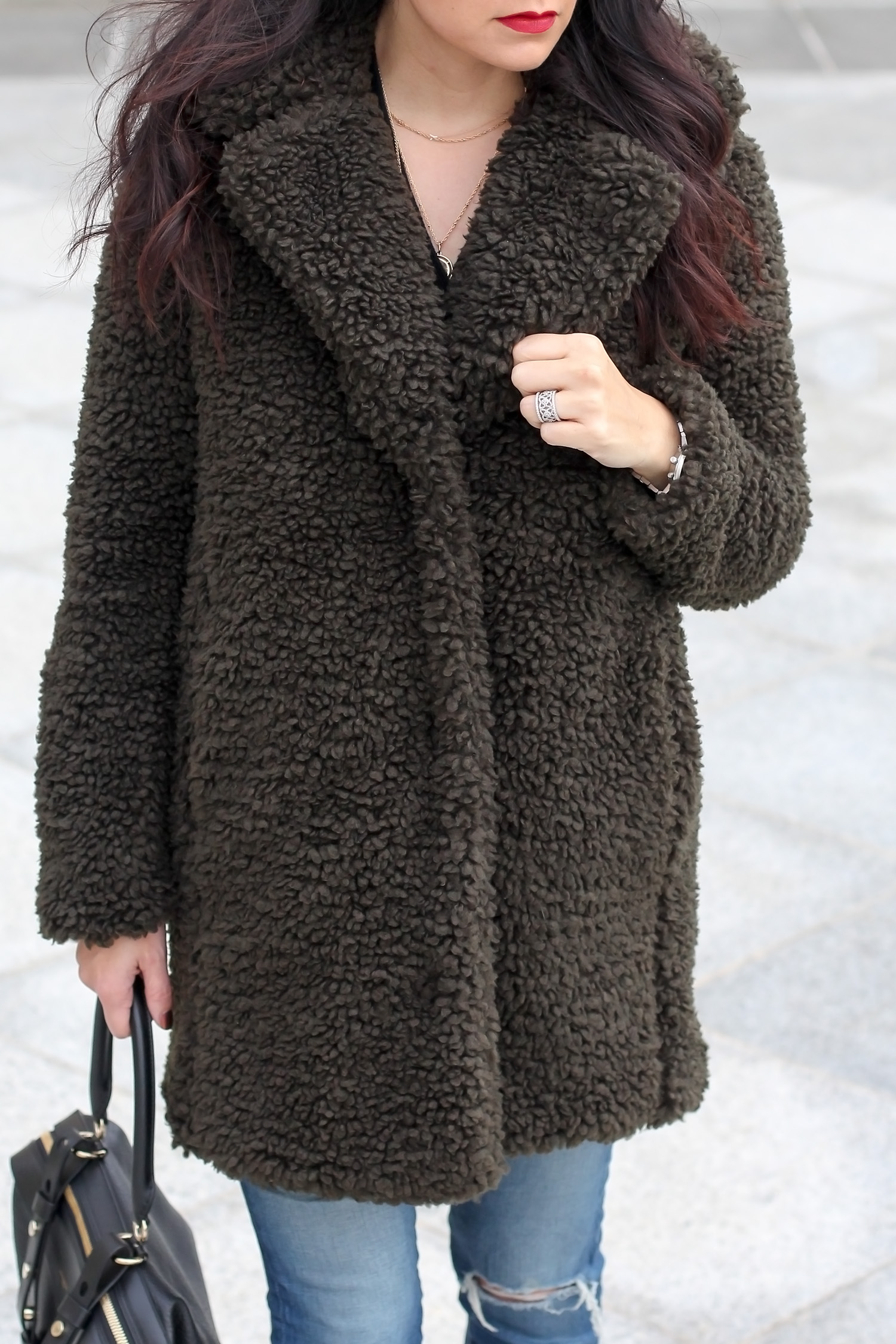 Teddy Coat, Winter Style, Suede Boots, Distressed Jeans