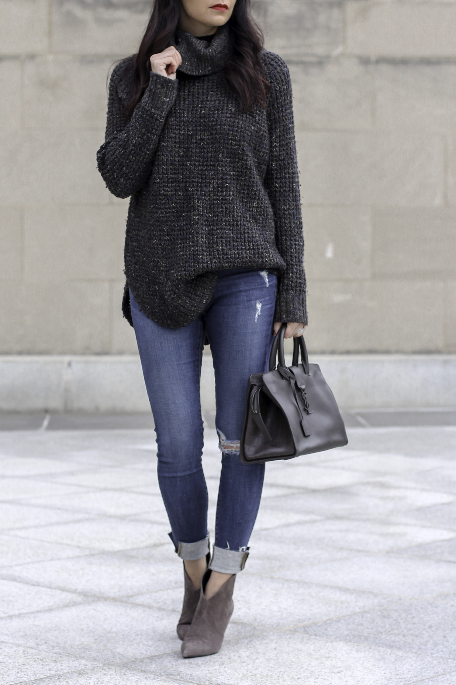 Free People Sweater, Cableknit Sweater, Saint Laurent Boots