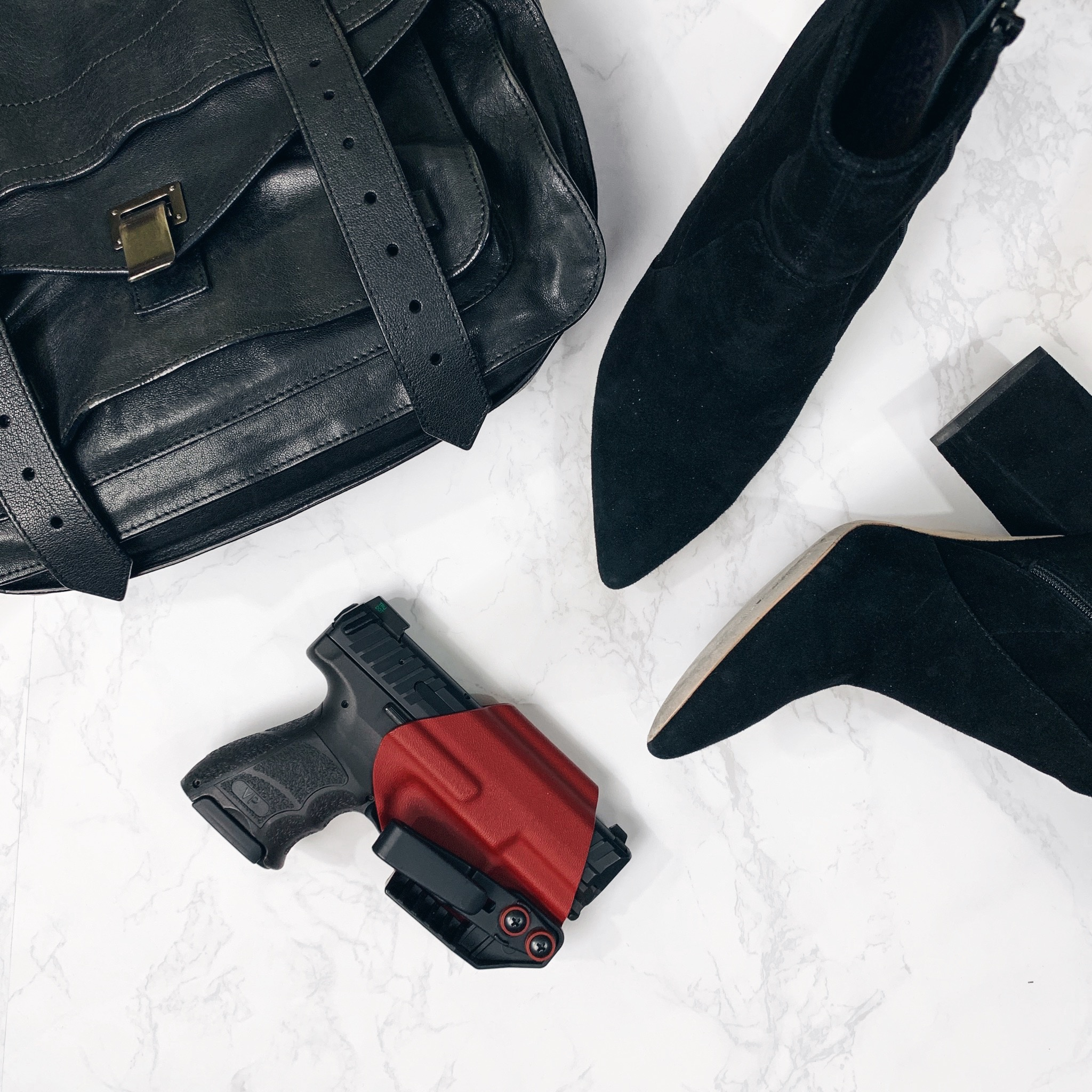 Concealed Carry for Women, Women's Concealed Carry Tips, Heckler & Koch VP9SK, Loeffler Randall Isla Boots, Blacksmith Tactical