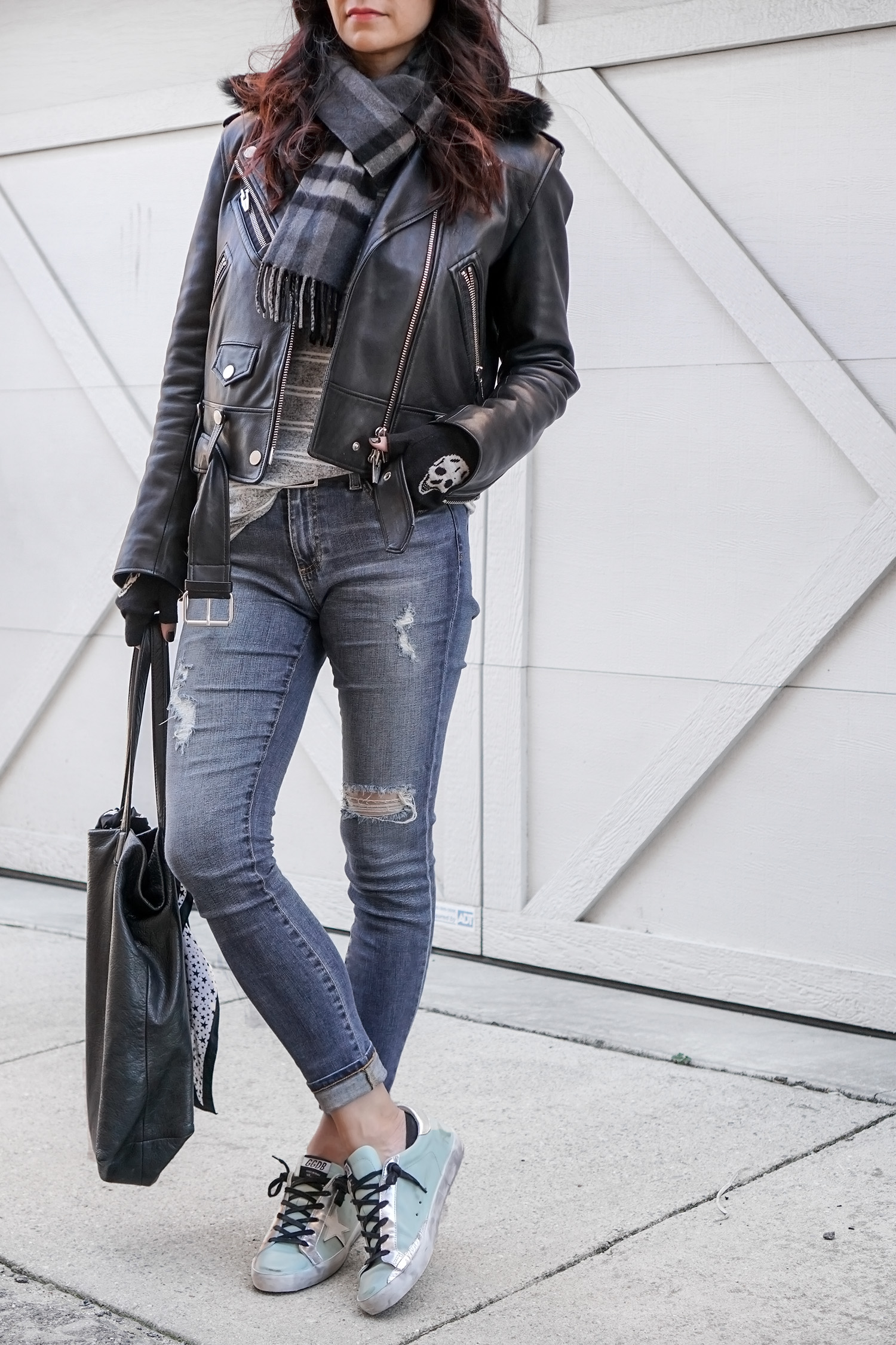 The Arrivals Leather Jacket, Skull Cashmere Gloves, Golden Goose Sneakers