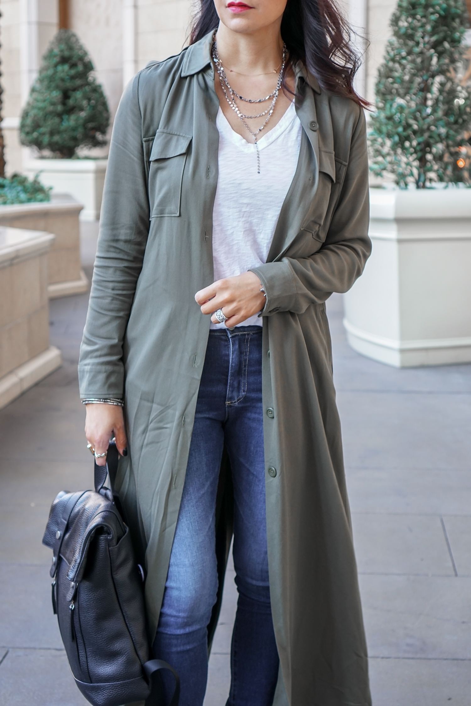 Long Duster Coat, Ankle Boots