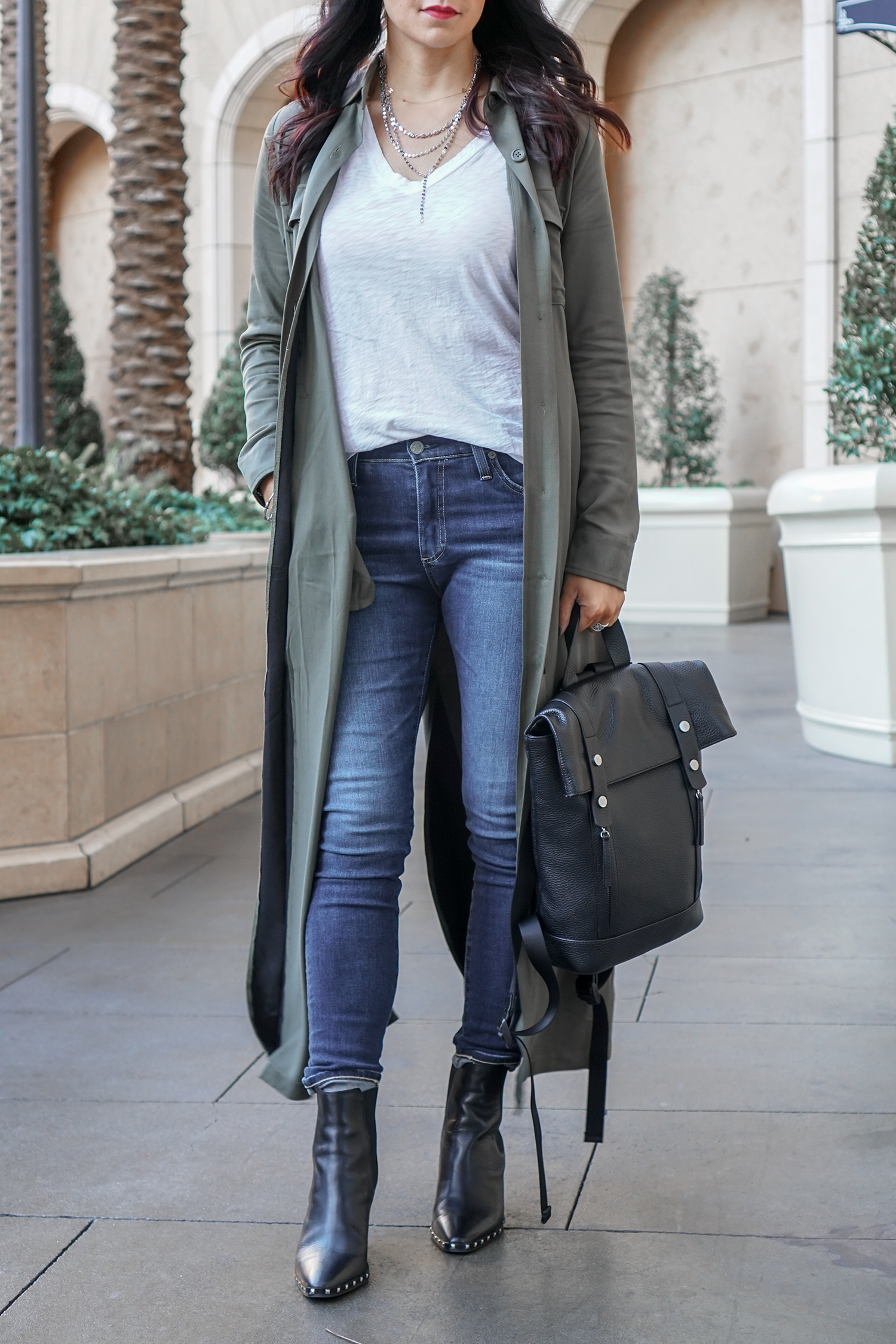 Long Duster Coat, Ankle Boots, How To Style A Leather Backpack