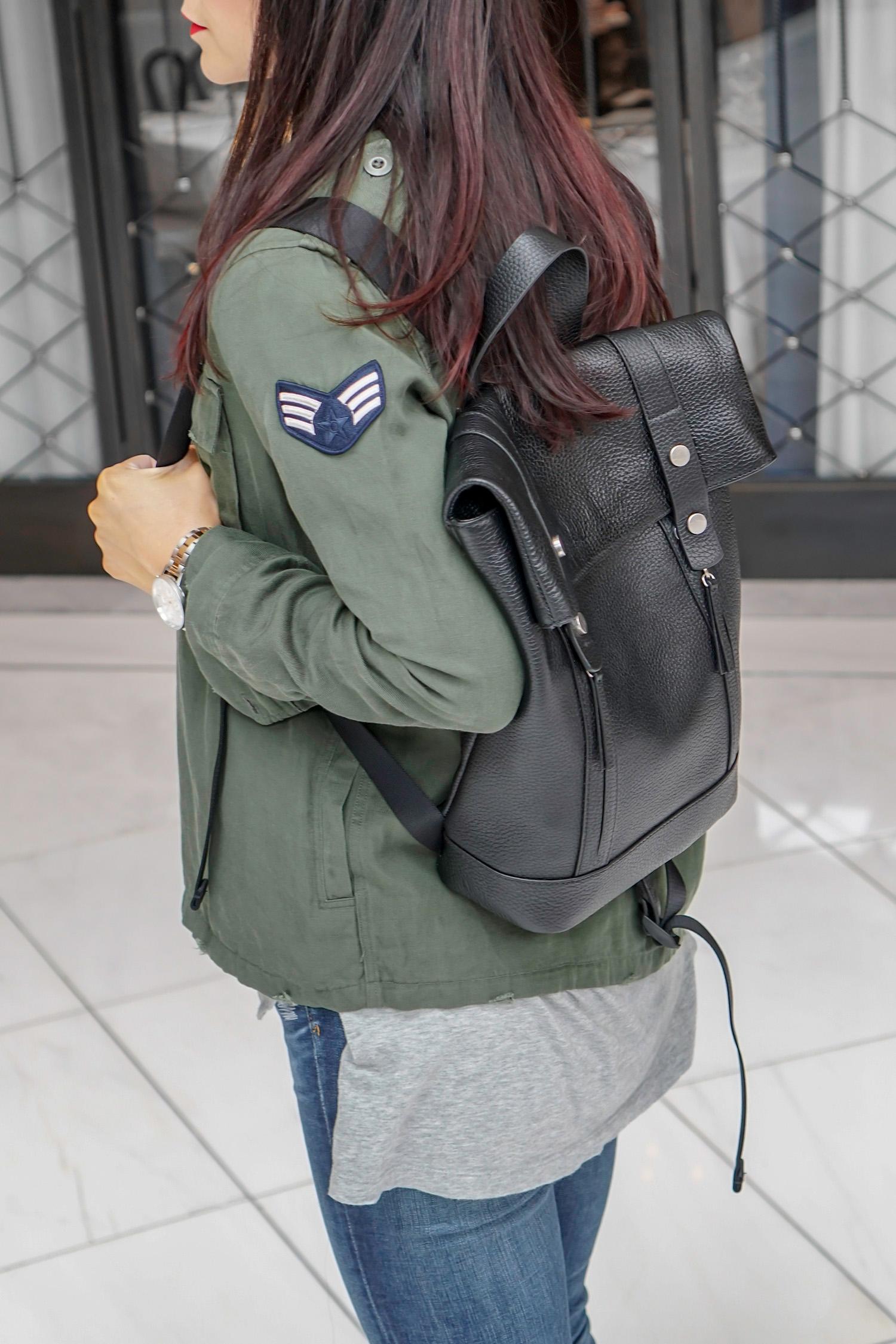 Rails Military Shirt Jacket, Treasure & Bond Backpack, Vans Old School Sneakers, Vans Camo