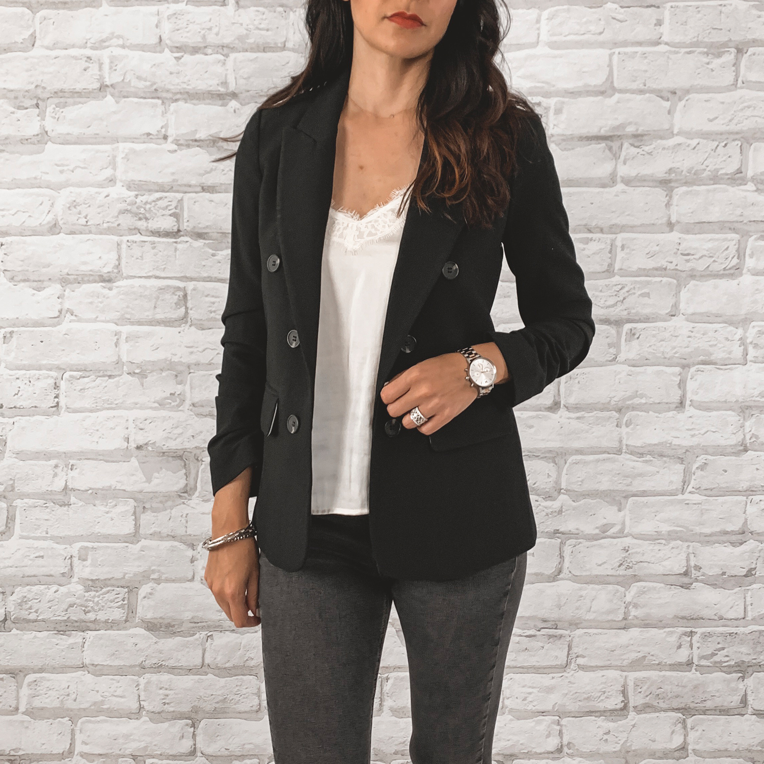 — OUTFIT DETAILS —    1. State Blazer      {Anniversary Price: $85.90 | After Sale: $129.00 | Wearing: Extra Small}  |   BP. Lace Trim Camisole Top      {Anniversary Price: $25.90 | After Sale: $39.00 | Wearing: Small}  |   Topshop Jaime High Waisted Jeans      {Anniversary Price: $49.90 | After Sale: $75.00 | Wearing: 28}    — CCW DETAILS —    StealthGearUSA Holster     |   Belt   | Glock 43