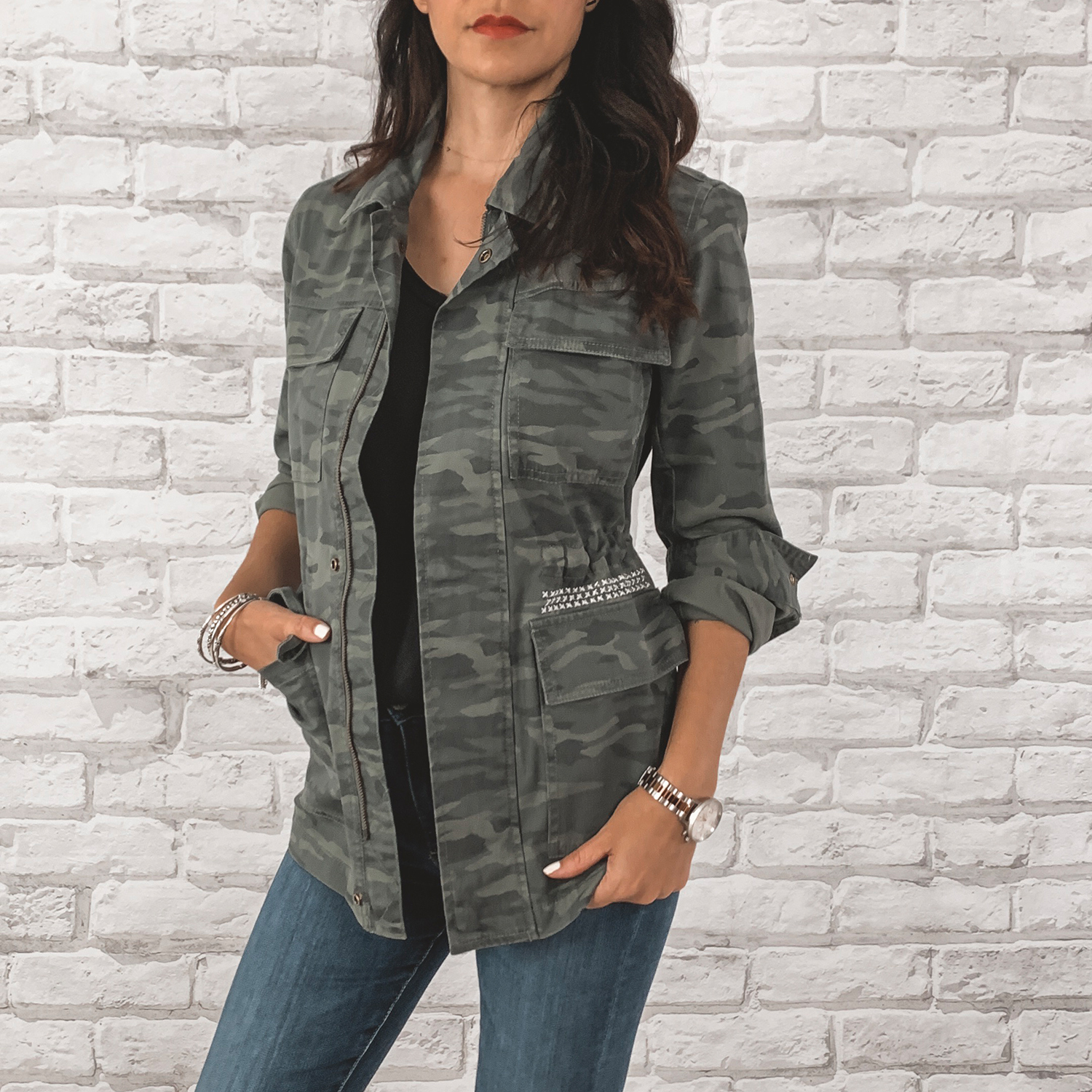 — OUTFIT DETAILS —    Caslon Camo Jacket      {Anniversary Price: $58.90 | After Sale: $89.00 | Wearing: Extra Small}  |   BP. Raw Edge Tee    {Anniversary Price: $15.90 | After Sale: $25.00 |Wearing: Small}  |   AG Farrah High Waisted Skinny Jeans      {Anniversary Price: $149.90 | After Sale: $225.00 |Wearing: 26}    — CCW DETAILS —    Blacksmith Tactical Holster with UltiClip     | Glock 43