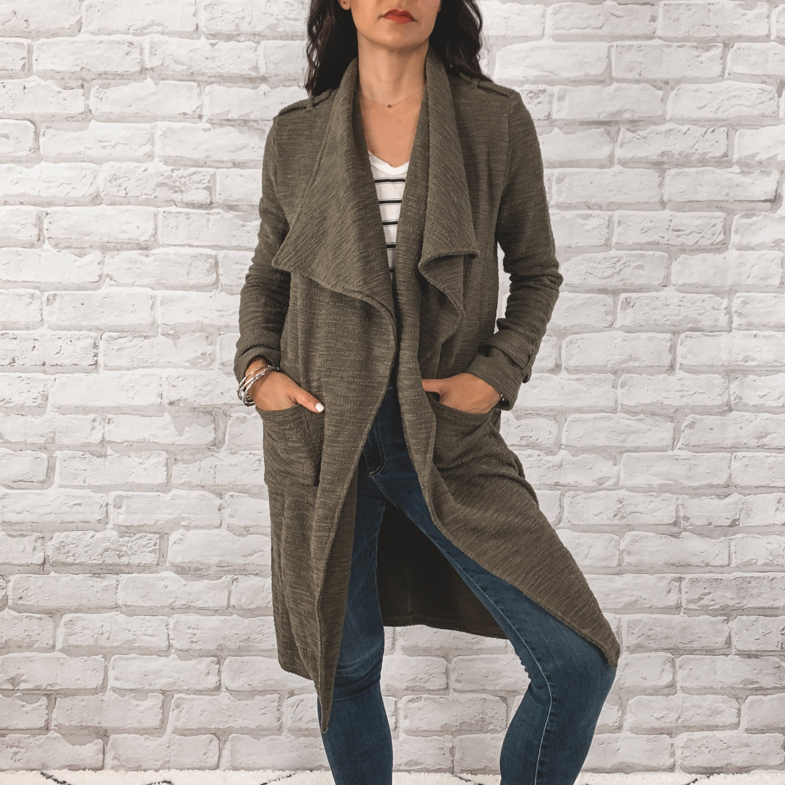 — OUTFIT DETAILS —    BB Dakota Drape Front Coat    {Anniversary Price: $86.80 | After Sale: $130 | Wearing: Extra Small|}  |   BP. Raw Edge Tee    {Anniversary Price: $15.90 | After Sale: $25.00 |Wearing: Small}  |   AG Farrah High Waisted Skinny Jeans      {Anniversary Price: $149.90 | After Sale: $225.00 |Wearing: 26}    — CCW DETAILS —    Blacksmith Tactical Holster with UltiClip     | Glock 43