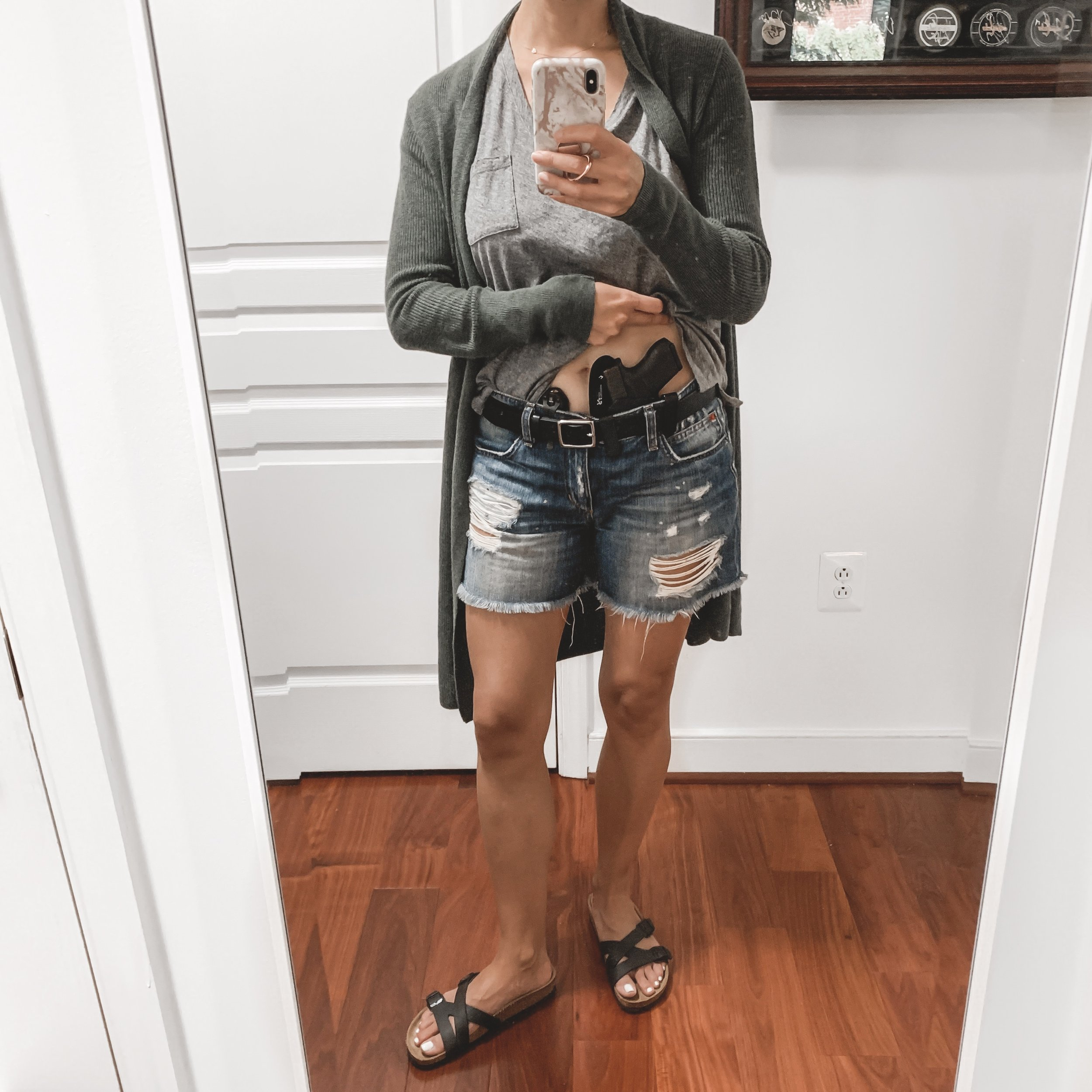 — Outfit Details —    Leith Cardigan       Madewell Shirt      Joe's Jeans Shorts  {   similar   }     Birkenstock Sandals     — Concealed Carry Details —  Self-Defense Tool:  Glock 43    Holster:   StealthGearUSA Ventcore AIWB  *   Flashlight:   SureFire Stiletto     Belt:   Rag and Bone   (*use code SMT10 for 10% off at   stealthgearusa.com  )