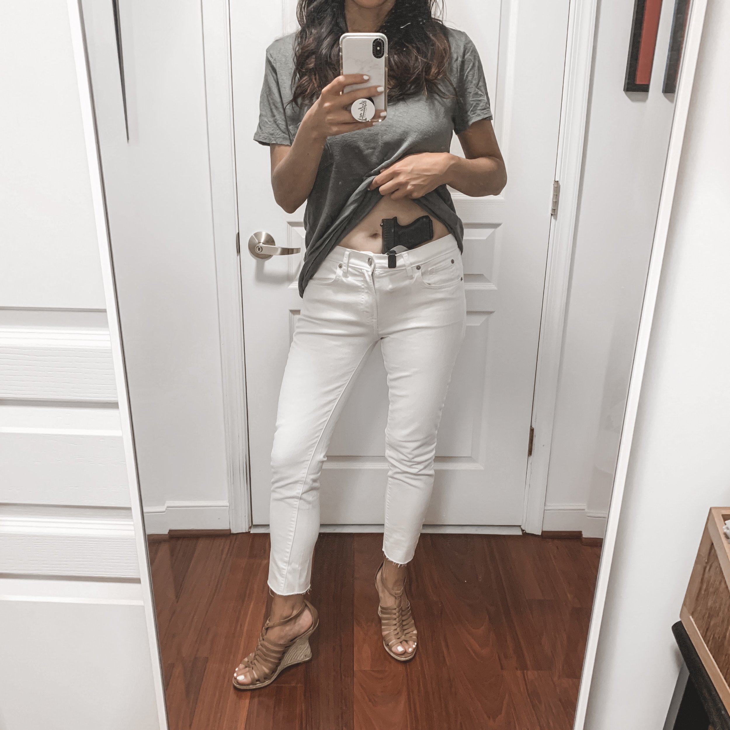 — Outfit Details —  J. Crew Shirt     Topshop Jeans      Sam Edelman Shoes      — Concealed Carry Details — Self-Defense Tool: Glock 43   Holster:       Blacksmith Tactical Beltless IWB w/UltiClip     *   Flashlight:      SureFire Stiletto       (*use code StyleMe10 for 10% off at      blacksmithtactical.com     )