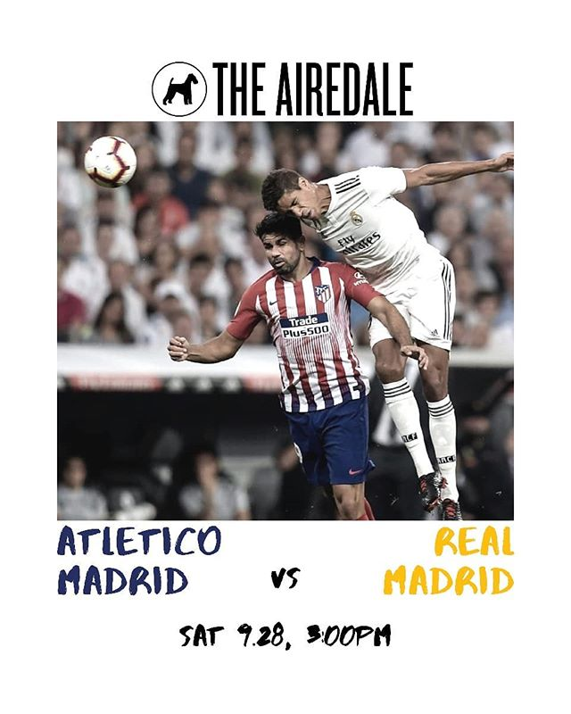 Get your 🍿 ready!! The first Madrid Derby of the season is this Saturday at 3PM. Make sure to get here early to snag yourself a seat. . . . #MyDCcool #IGDC #BYthings #ACreativeDC #WalkWithLocals #WashingtonDC #DCeats #DCBars #Football #DMV #RealMadrid #AtleticoMadrid