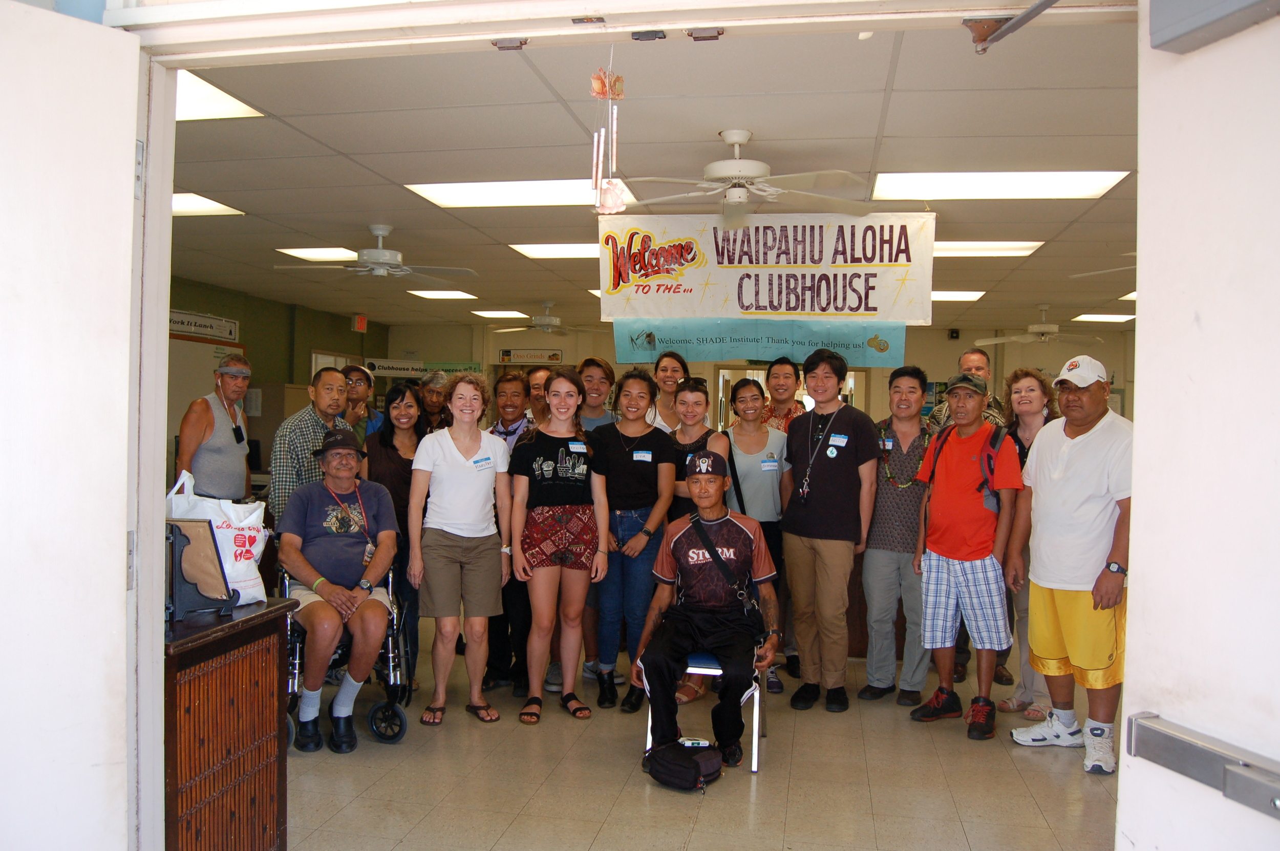 Members and SHADE interns at the Waipahu Aloha Clubhouse