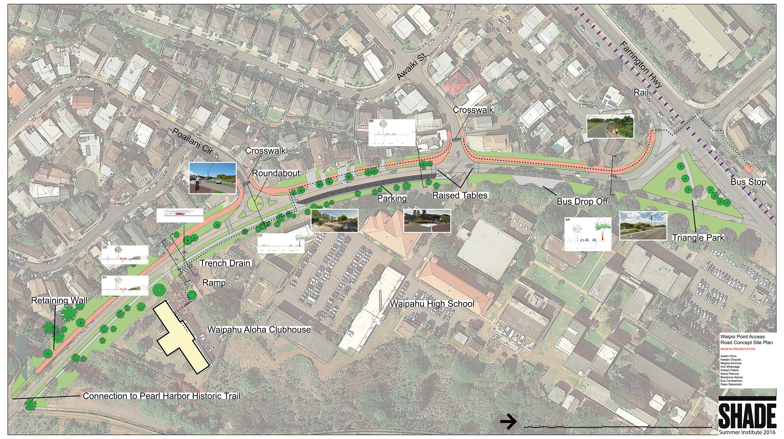 Map of the proposed concept map for the Waipio Point Access Road Accessible Pathway