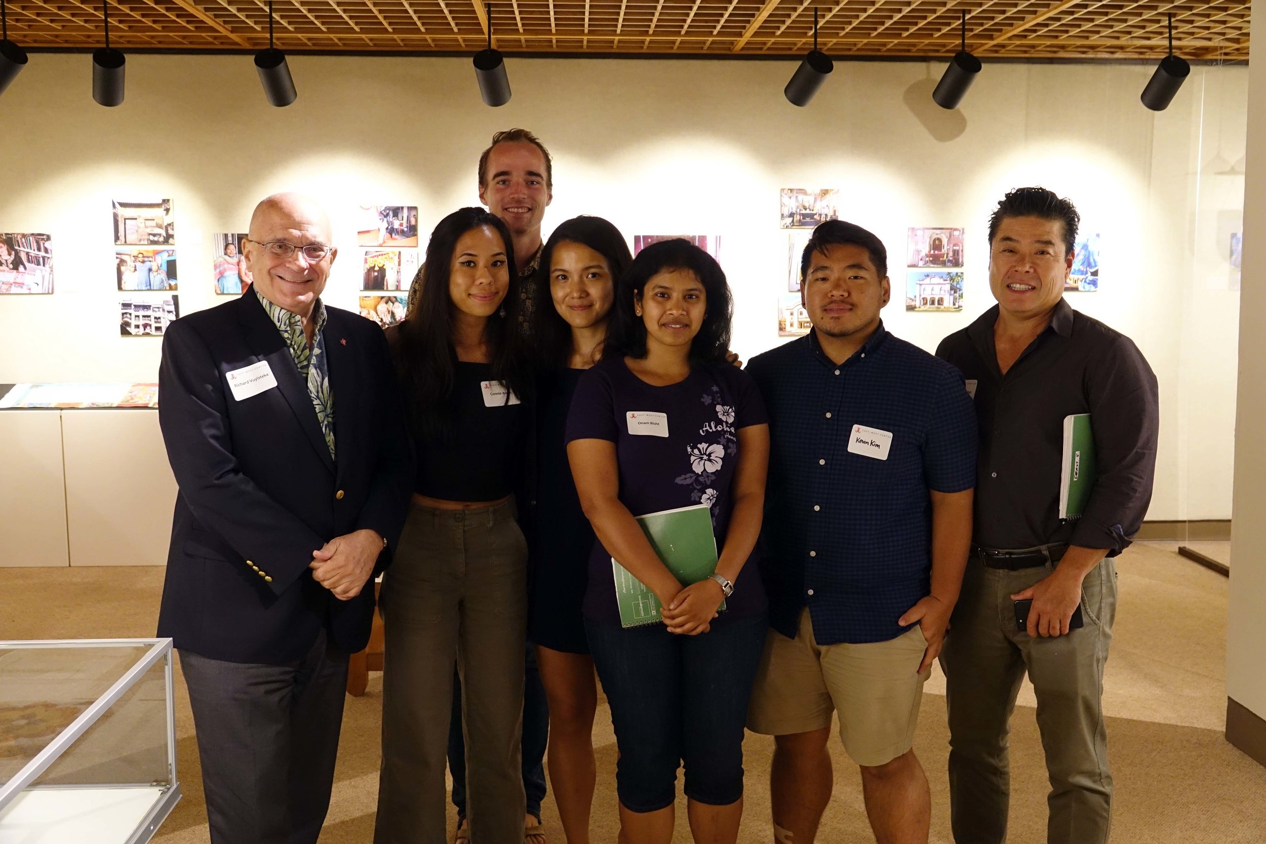 East-West Center President Richard Vuylsteke and SHADE  Fellows Connie Kwan, Kyler Carlson, Lee Hao Rong, Onam Bisht, Kevin Kim and Dean Sakamoto.     Photo credit: Eric Chang,  East-West Center