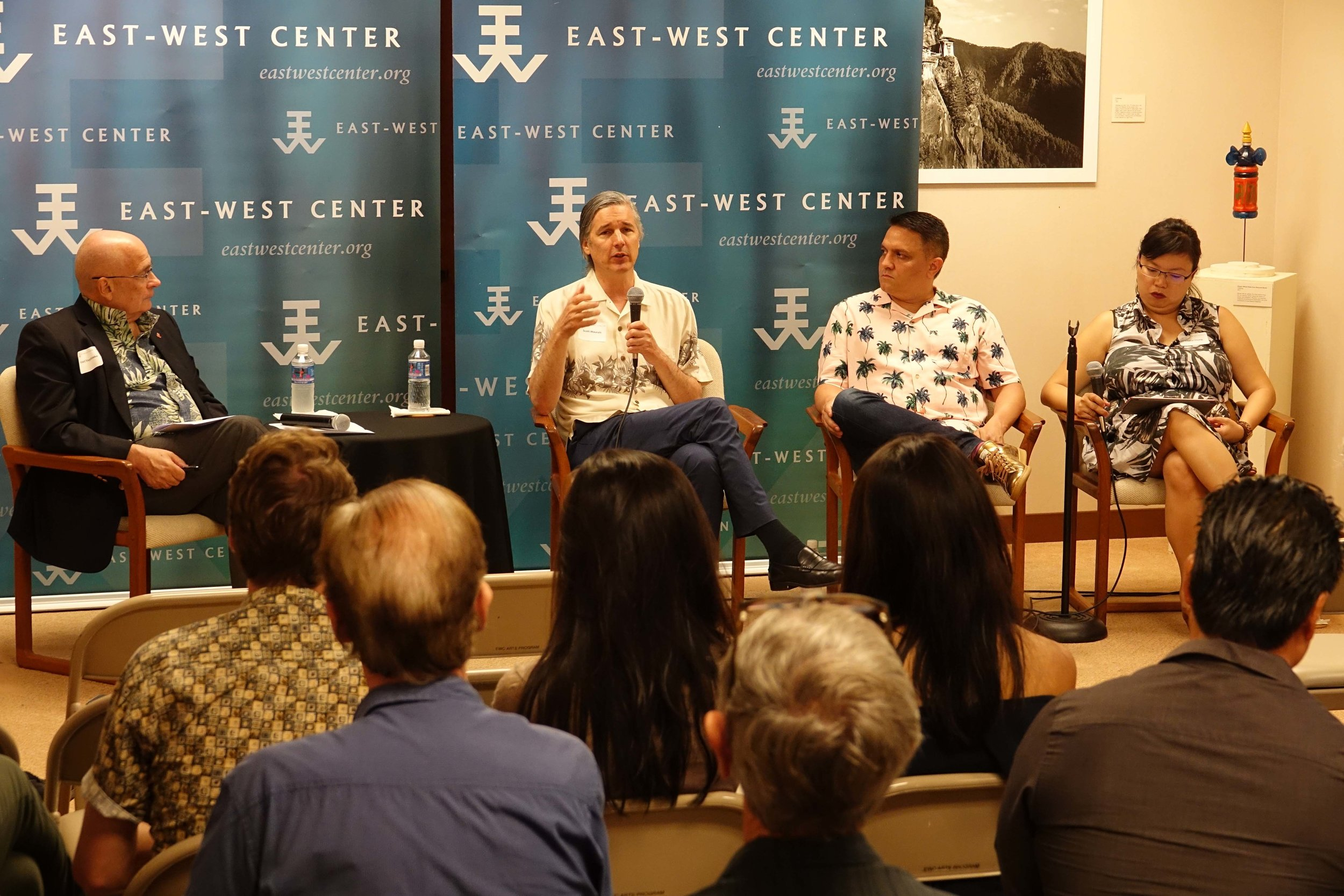 EWC President Richard Vuylsteke and panel speakers Scott Mauvais, Miguel Gamino and Cheryl Chung.  Photo credit: Eric Chang,  East-West Center