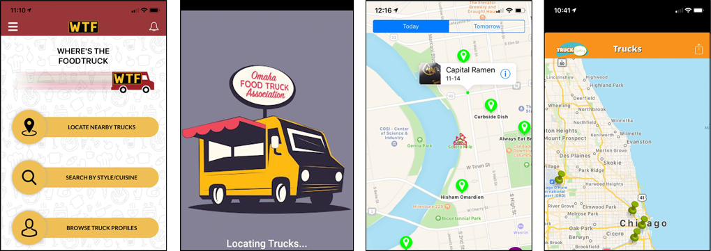 Our competition:  WTF: Where's the Food Truck?, OFTA Eat, FoodPops: Food Truck Finder, and Truckspotting