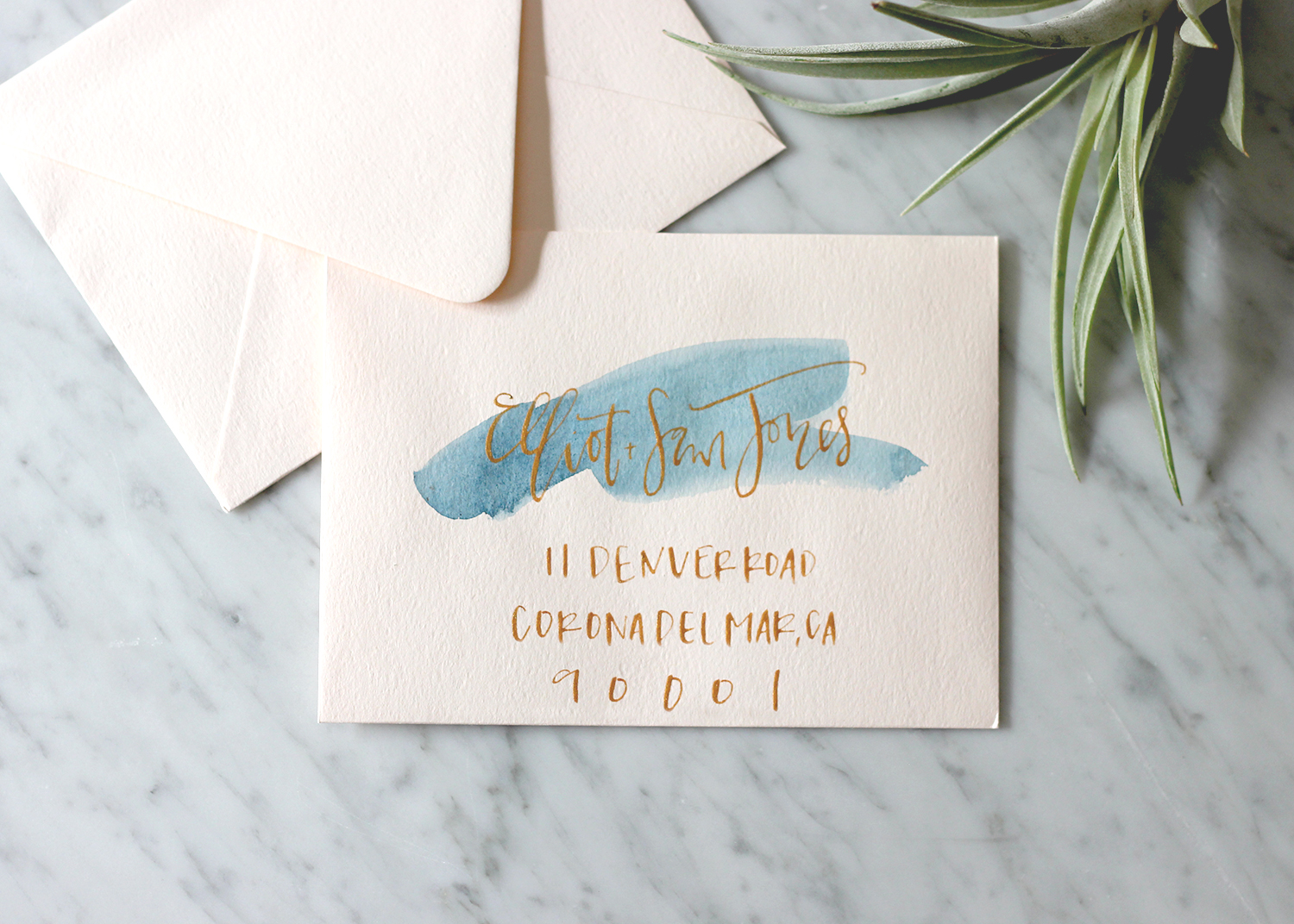 Blue Wash with Gold Calligraphy on Blush | A Fabulous Fete