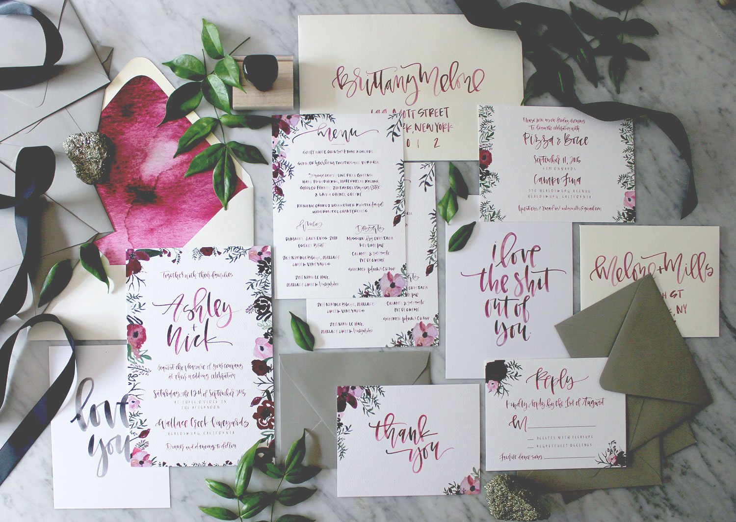 Modern Calligraphy Wedding Suite | A Fabulous Fete