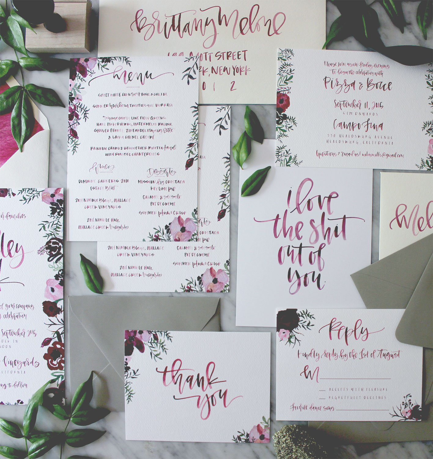 Watercolor Calligraphy Wedding Stationery | A Fabulous Fete