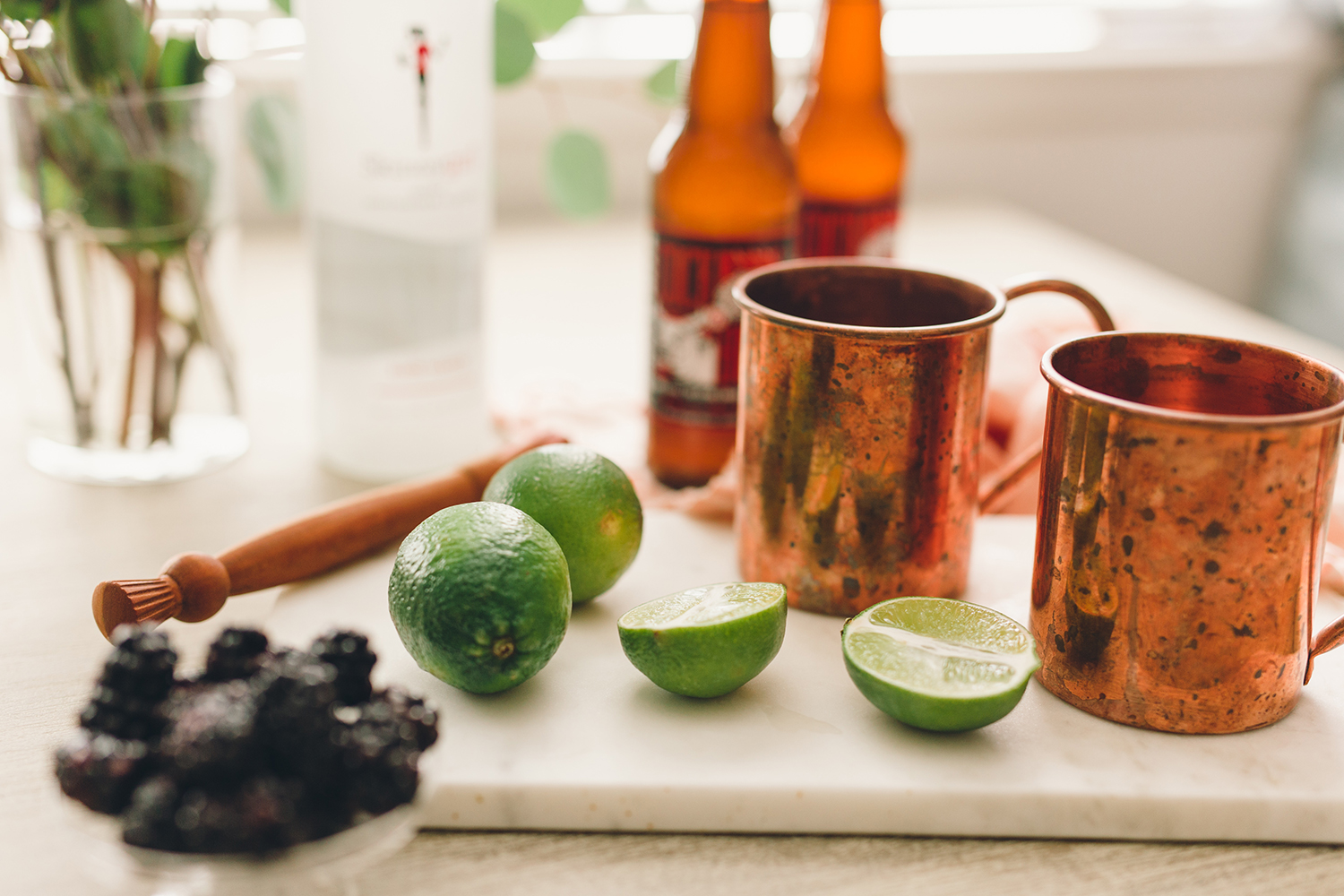 Ingredients for blackberry moscow mules | A Fabulous Fete
