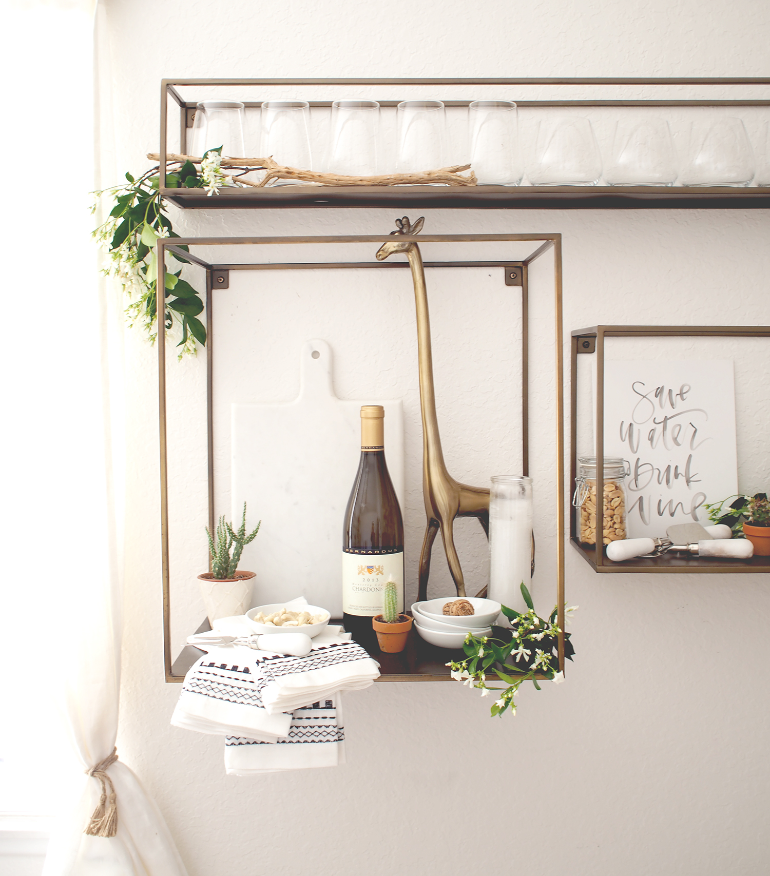 When you don't have room for a bar cart, try an entertainign corner on shelves! | A Fabulous Fete