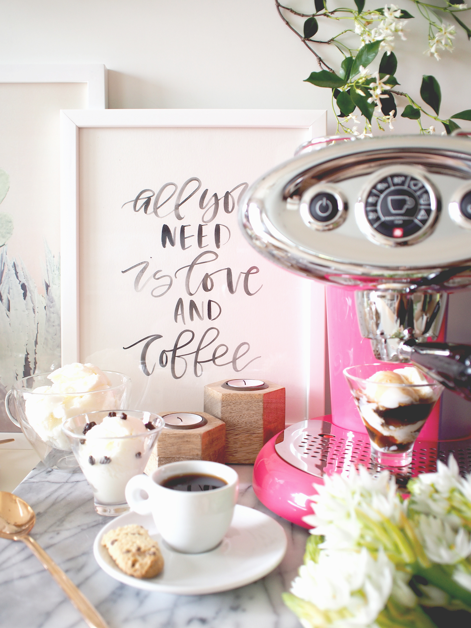 All you need is love and coffee (truth). Watercolor lettering quote for a coffee/espresso bar | A Fabulous Fete