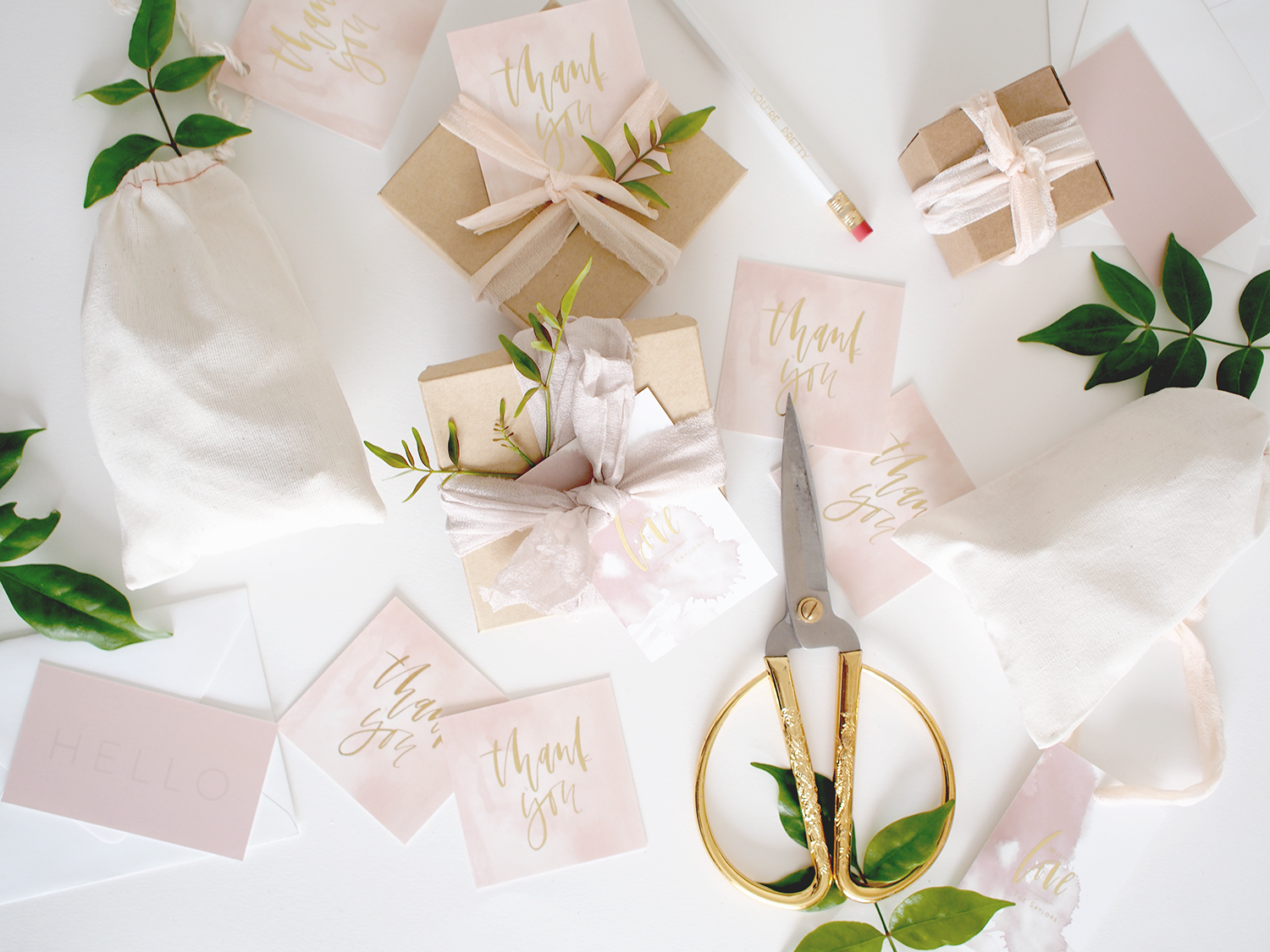 Custom thank you tags with gold foil for events for weddings   A Fabulous Fete