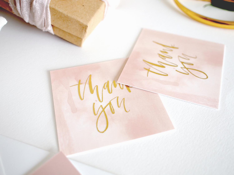 Gold foil square thank you cards   A Fabulous Fete