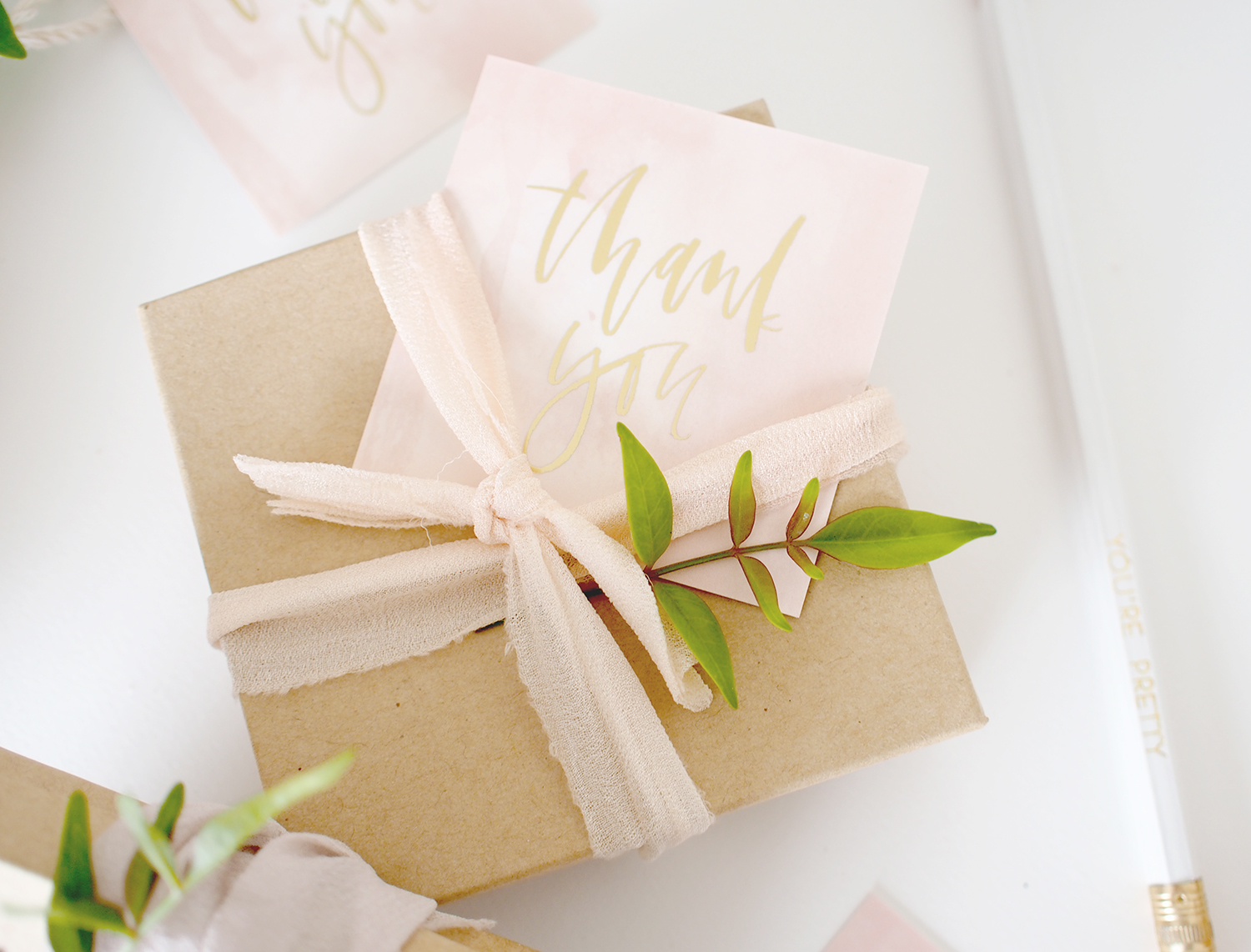 Gold foil hand lettered thank you tags   A Fabulous Fete