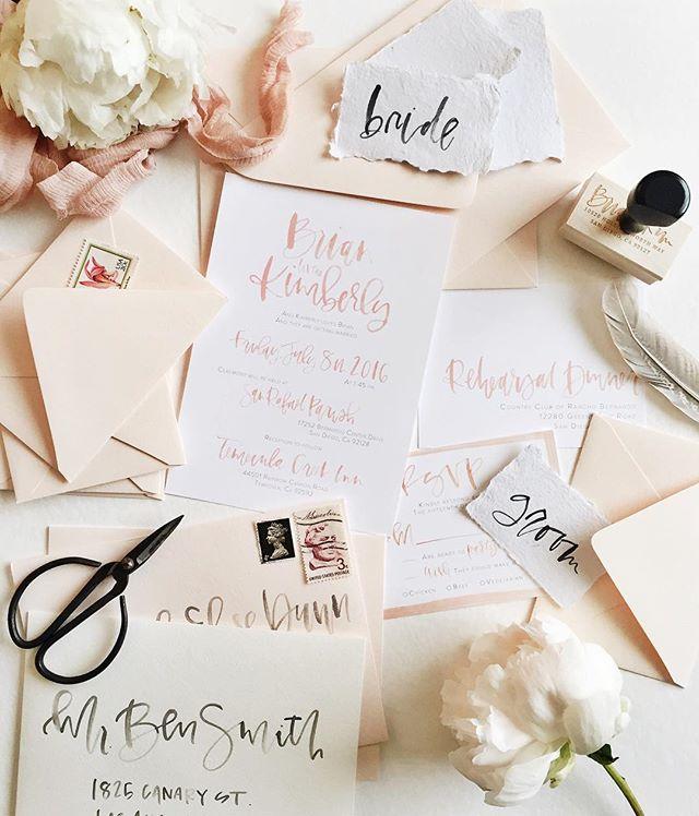 Blush watercolor calligraphy custom wedding suite | A Fabulous Fete