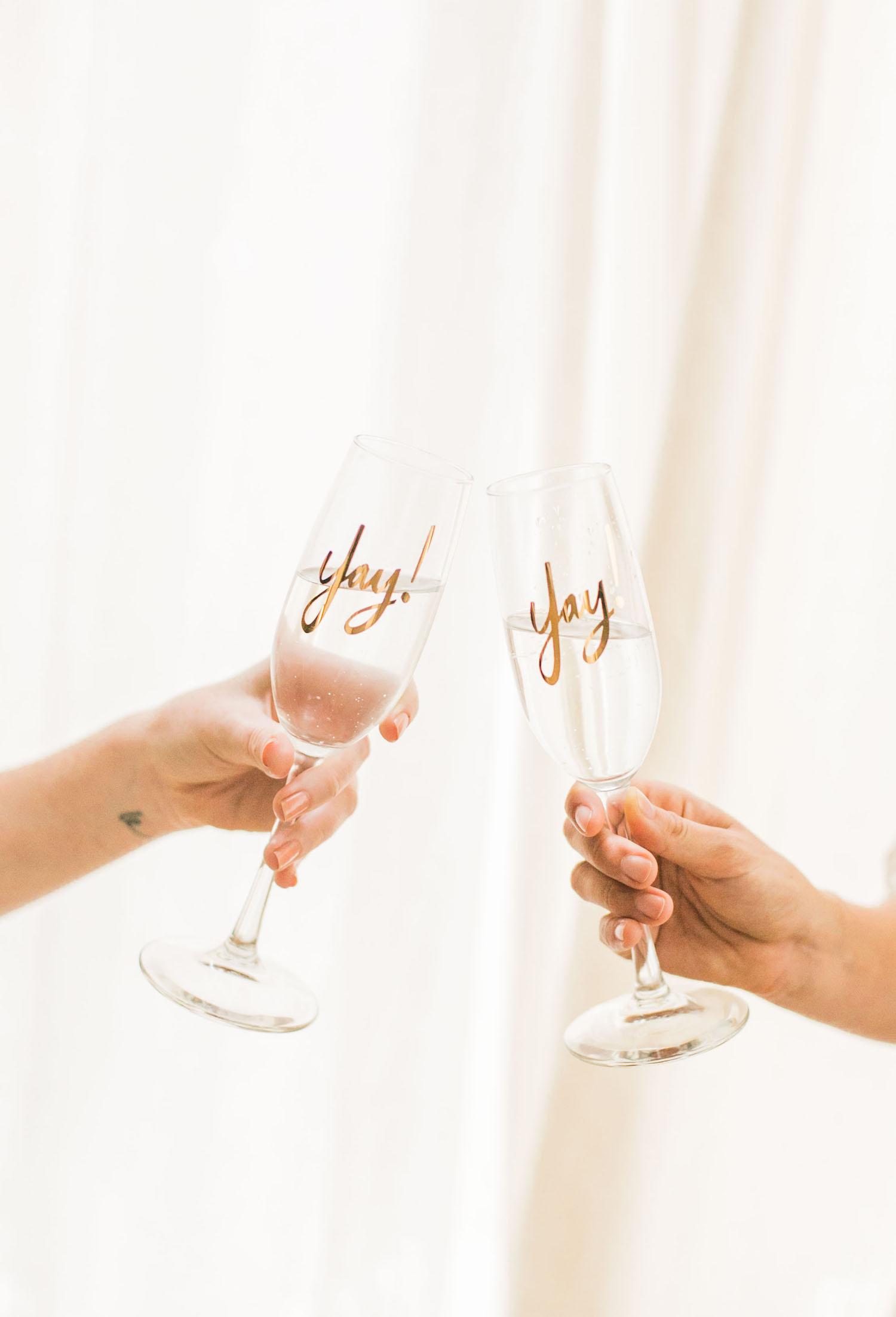 'Yay' champagne glasses | A Fabulous Fete