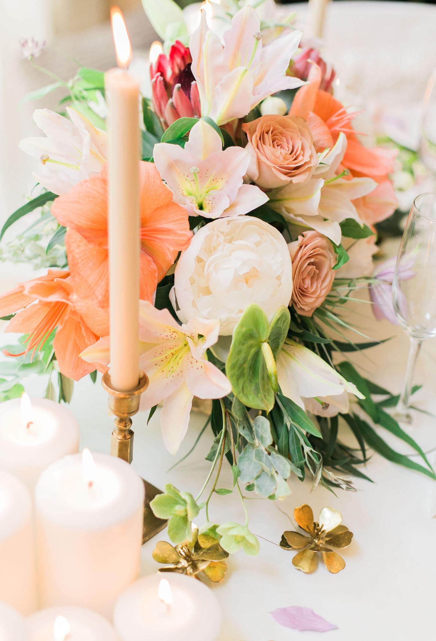 Tropical bohemian flower arrangement by Beautiful Savage Flowers | A Fabulous Fete