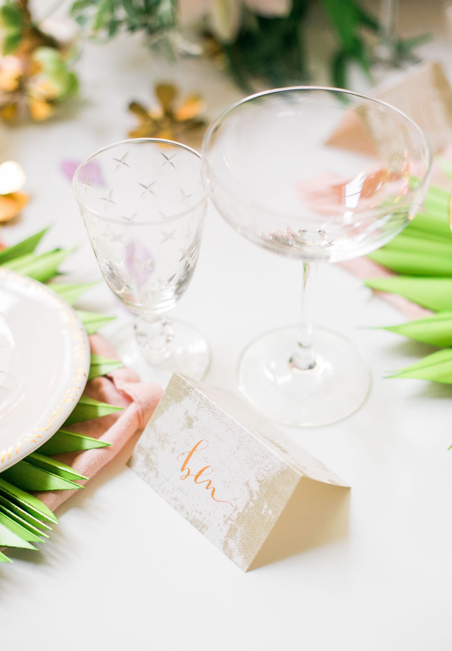 Gold calligraphy place cards for your rehearsal dinner | A Fabulous Fete