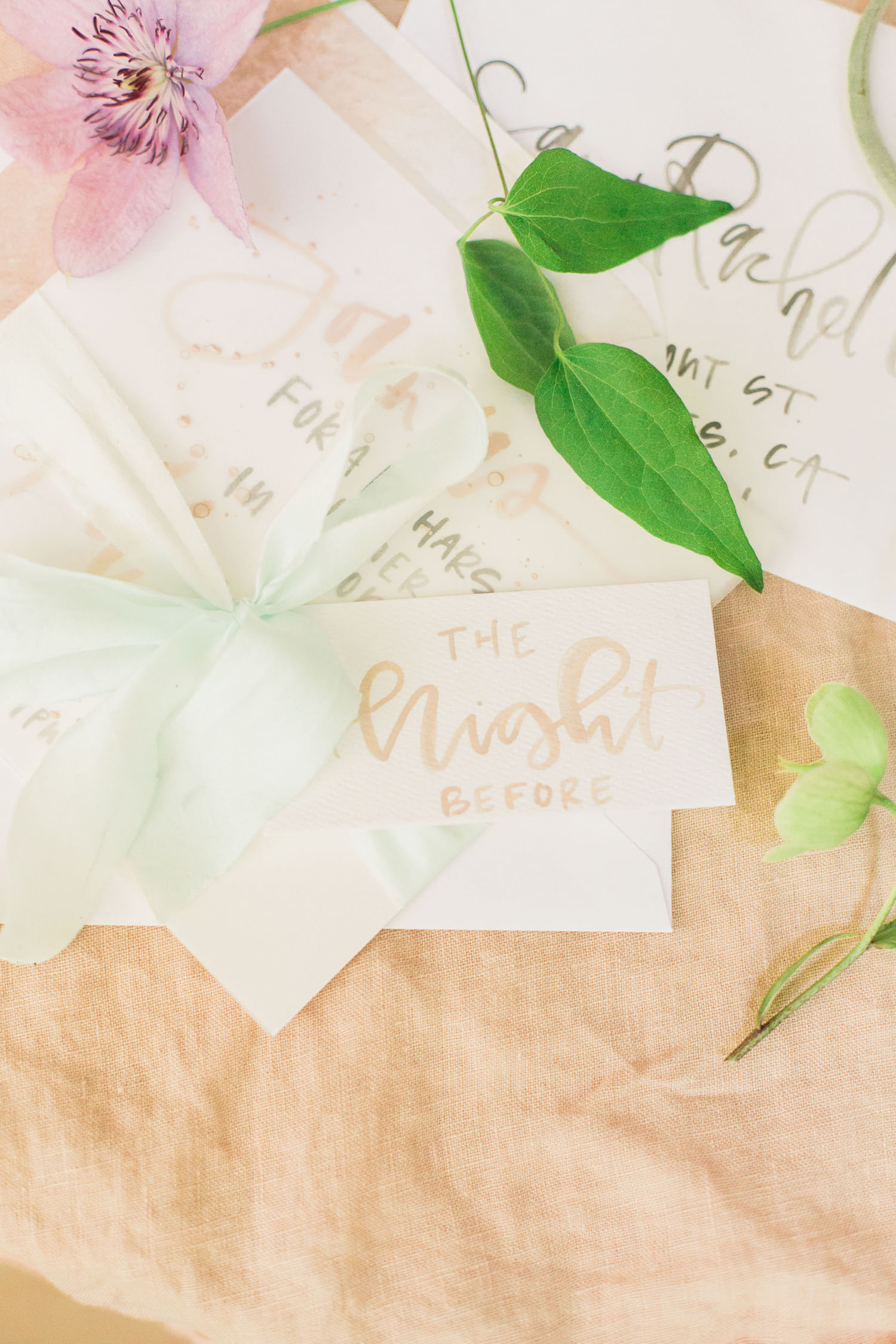 """Custom stationery for a rehearsal dinner, wrapped up with a """"the night before"""" tag 