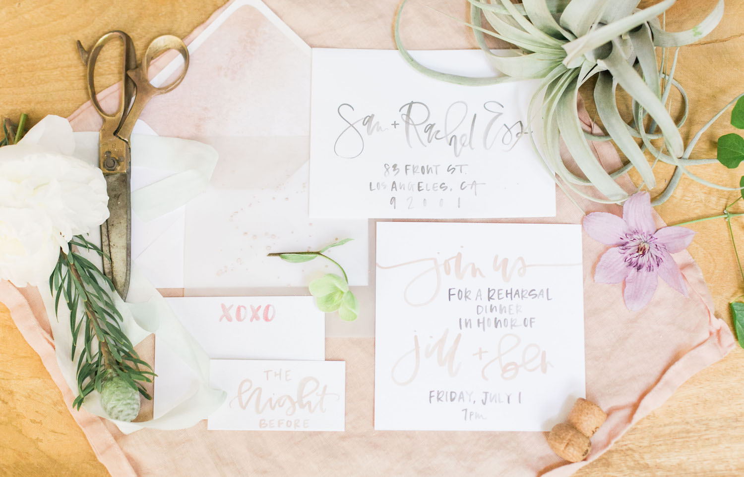 Watercolor calligraphy rehearsal dinner invitation | A Fabulous Fete
