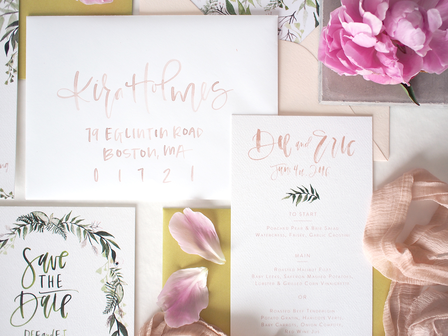 blush and white envelope watercolor addressing | a fabulous fete