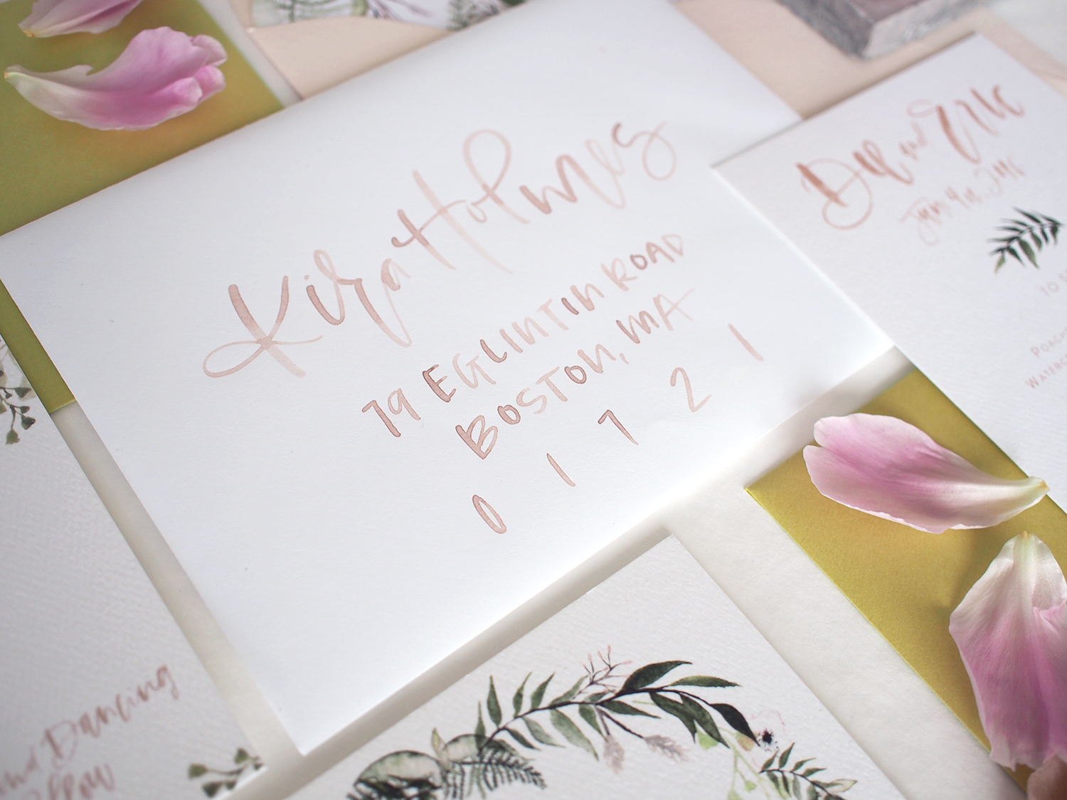 hand addressed blush wedding invitations | a fabulous fete