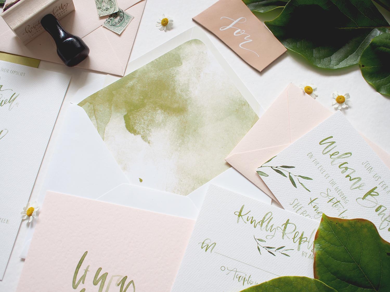 custom envelope liners watercolor wash | A Fabulous Fete