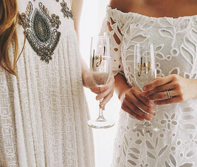 White BHLDN dresses for a rehearsal dinner | A Fabulous Fete