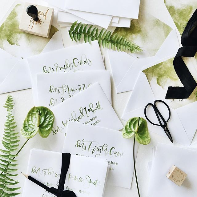 Apple green watercolor hand addressed envelopes | A Fabulous Fete