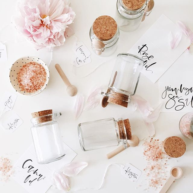 Salt scrubs made with rose petals and oil | A Fabulous Fete