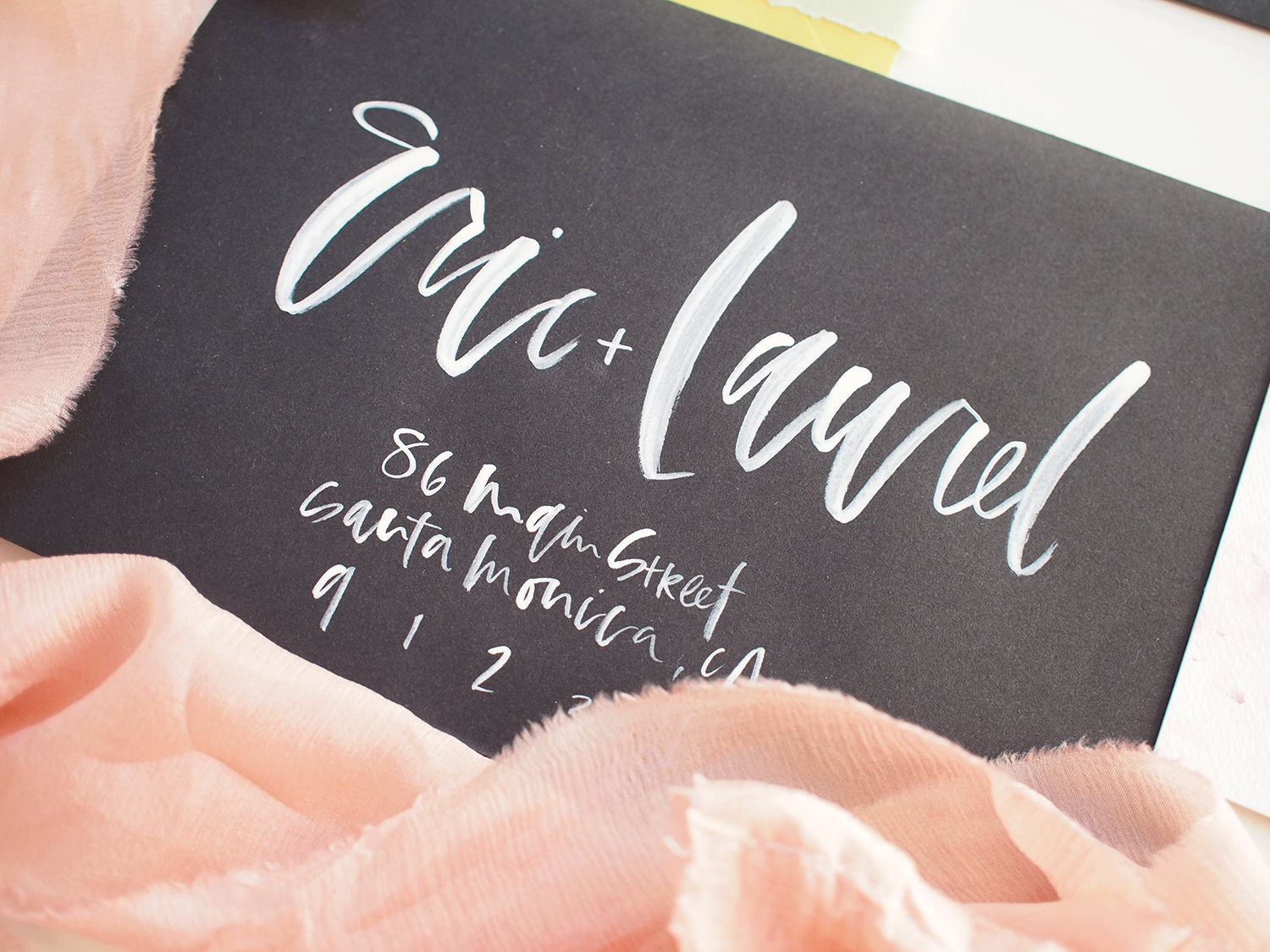 black and white watercolor hand addressed envelopes | A Fabulous Fete