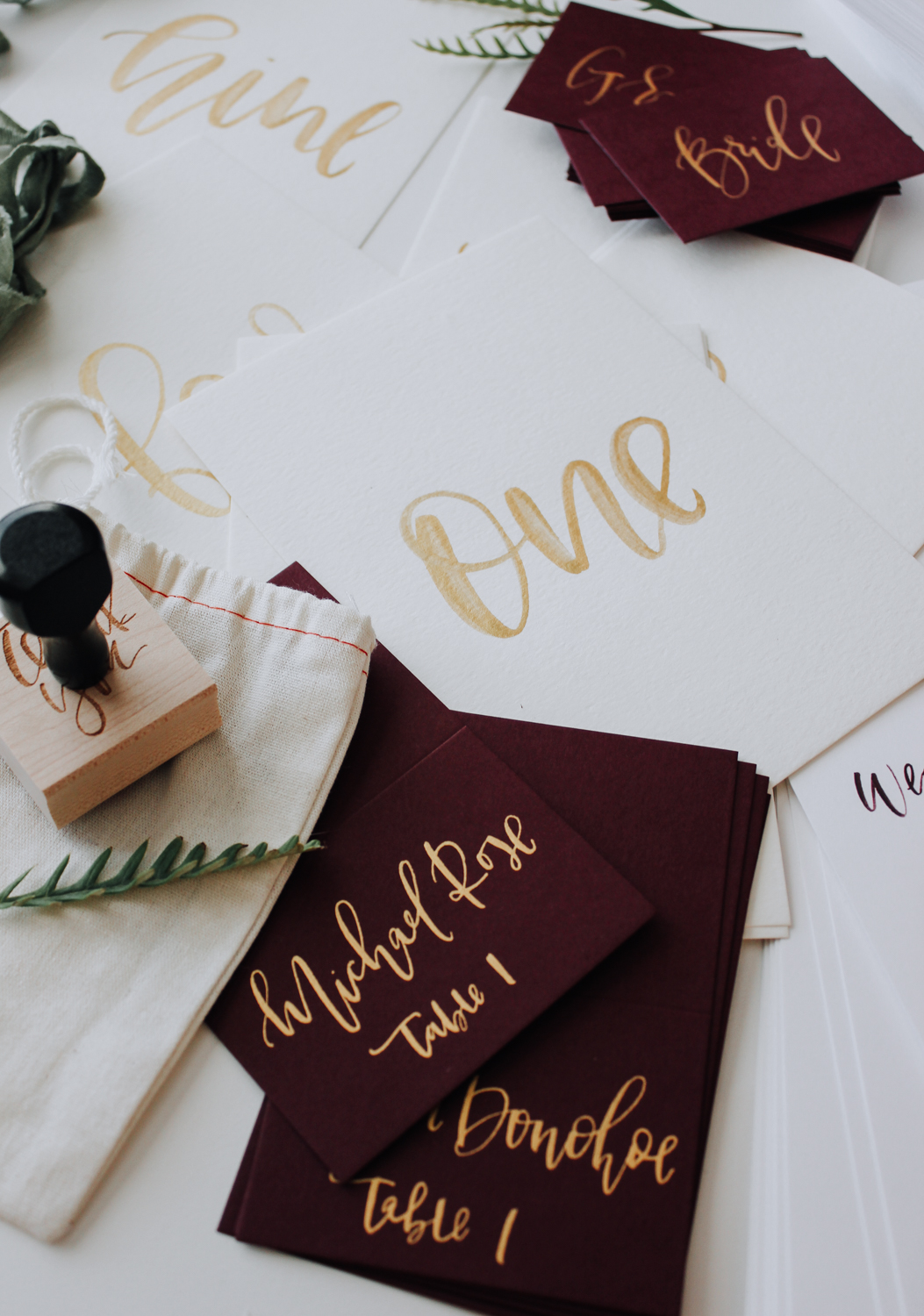 Gold watercolor calligraphy table numbers | A Fabulous Fete