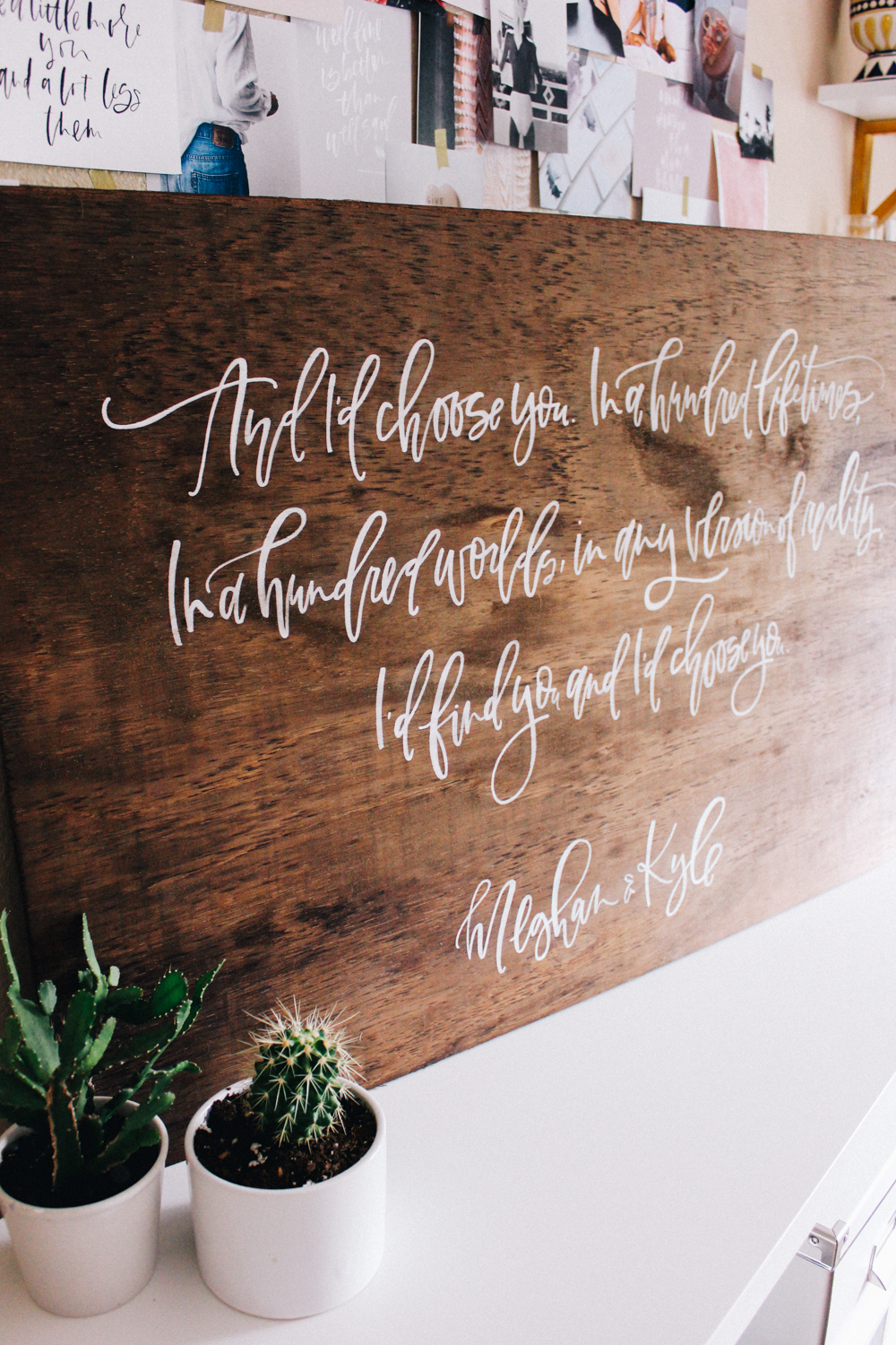White calligraphy on wood | A Fabulous Fete
