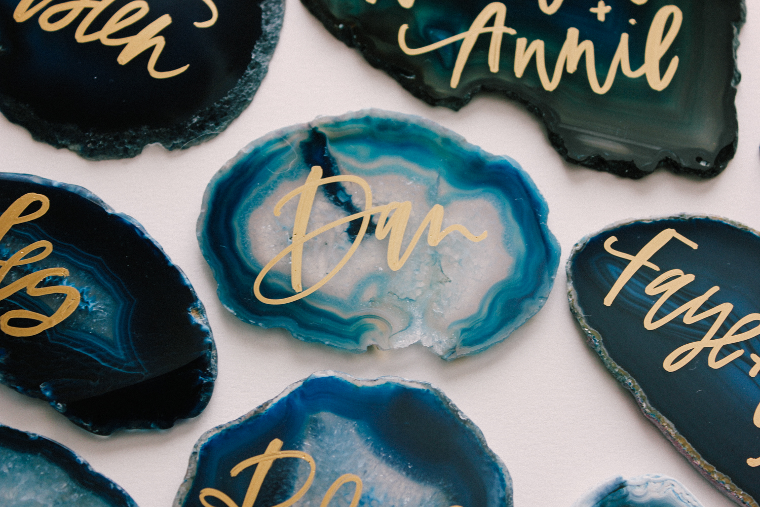 Deep ocean blue agate place cards hand lettered with each guest's name | A Fabulous Fete