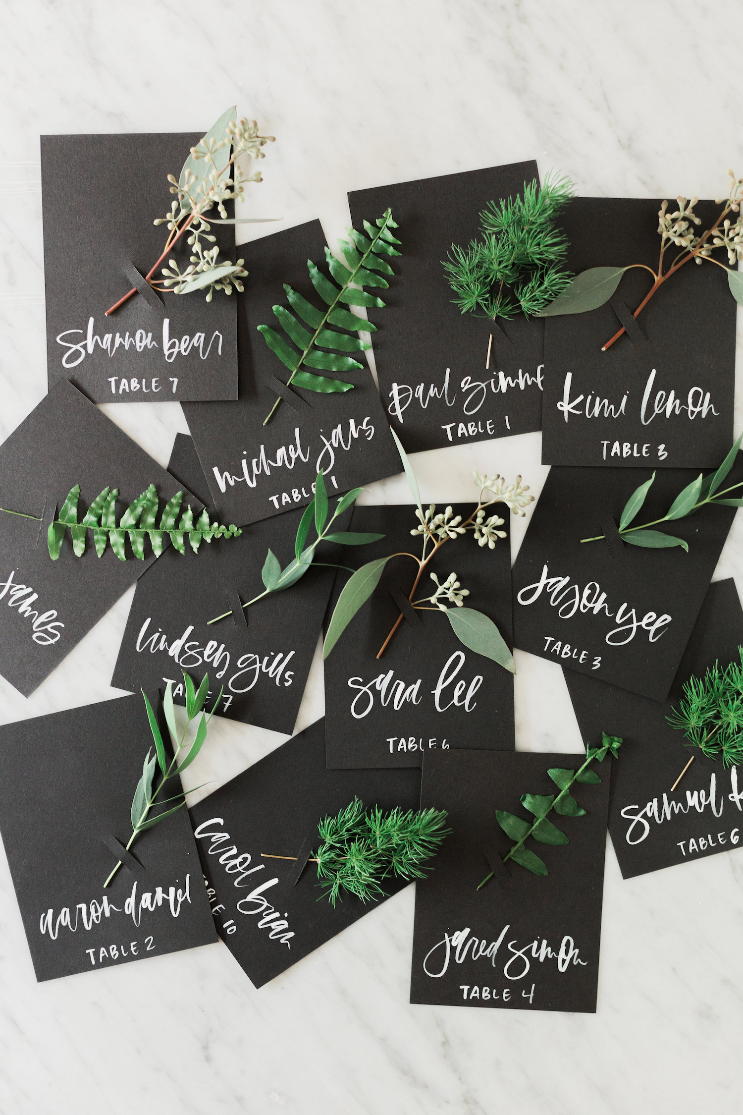 Fresh foliage fall escort card DIY | A Fabulous Fete