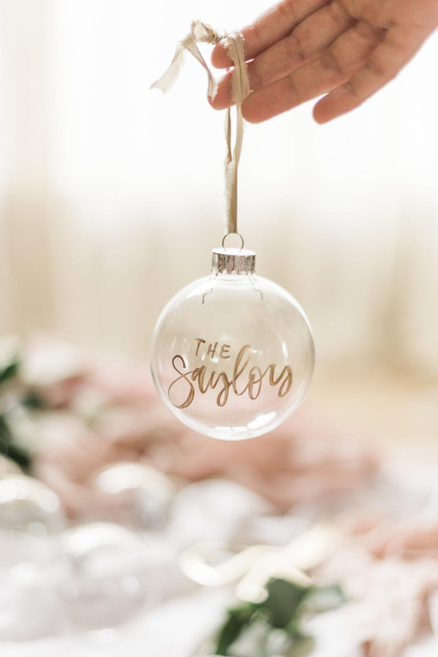Glass hand lettered ornaments | A Fabulous Fete