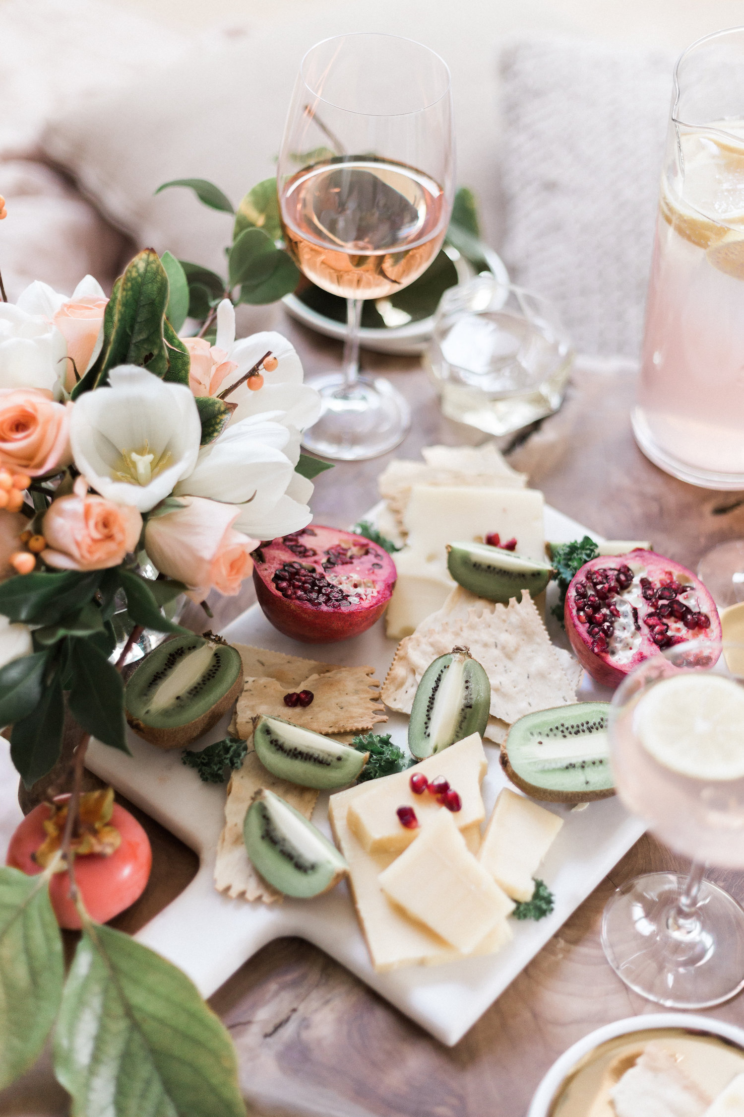 Get togethers at home with an easy spread and flowers you can grab at the grocery store | A Fabulous Fete
