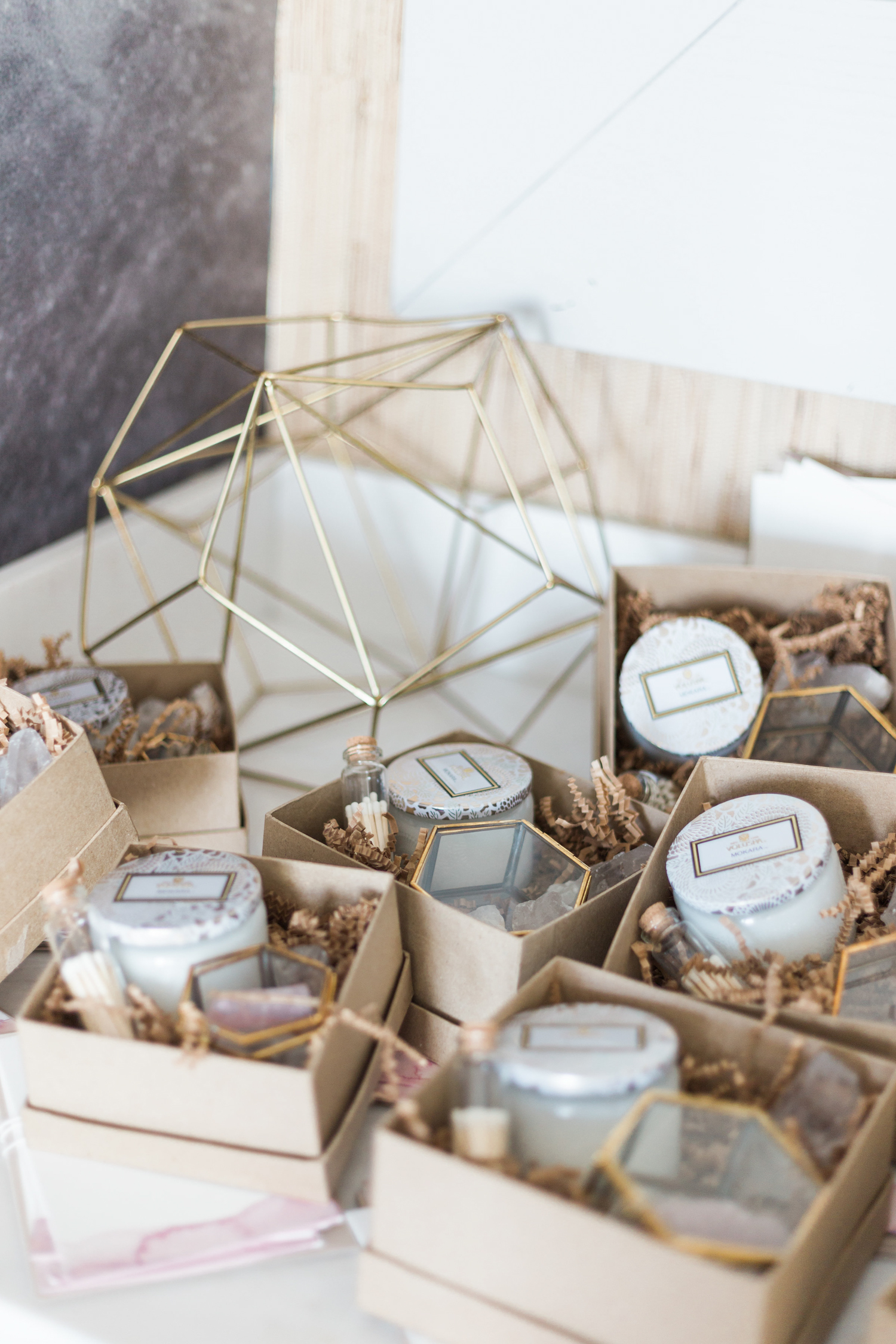 Party favors included Voluspa candles, mini match bottles, brass jewelry boxes and crystals | A Fabulous Fete