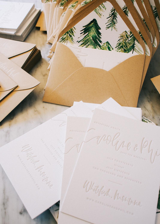 Letterpress wedding suite + hand painted envelope liners   A Fabulous Fete